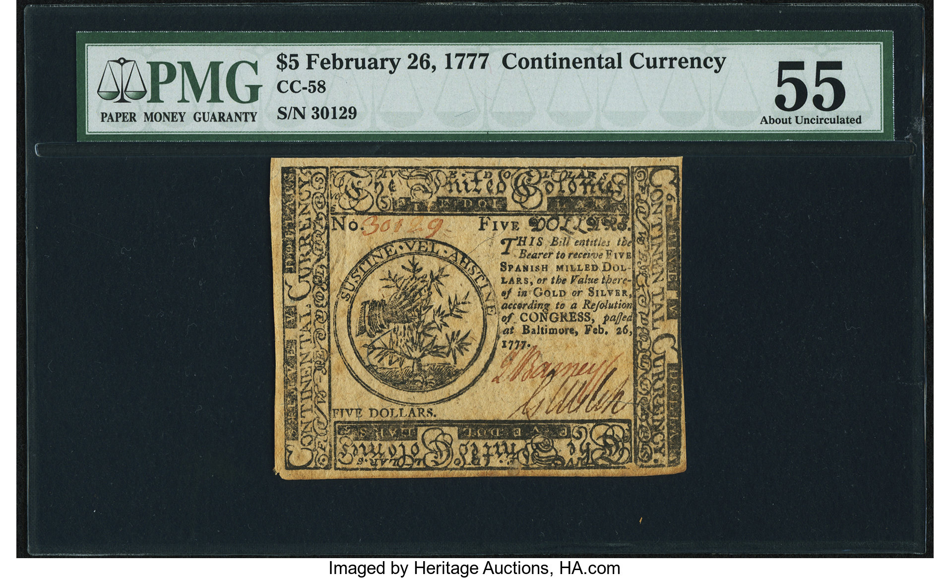 sample image for 1777 $5 CC58 Baltimore