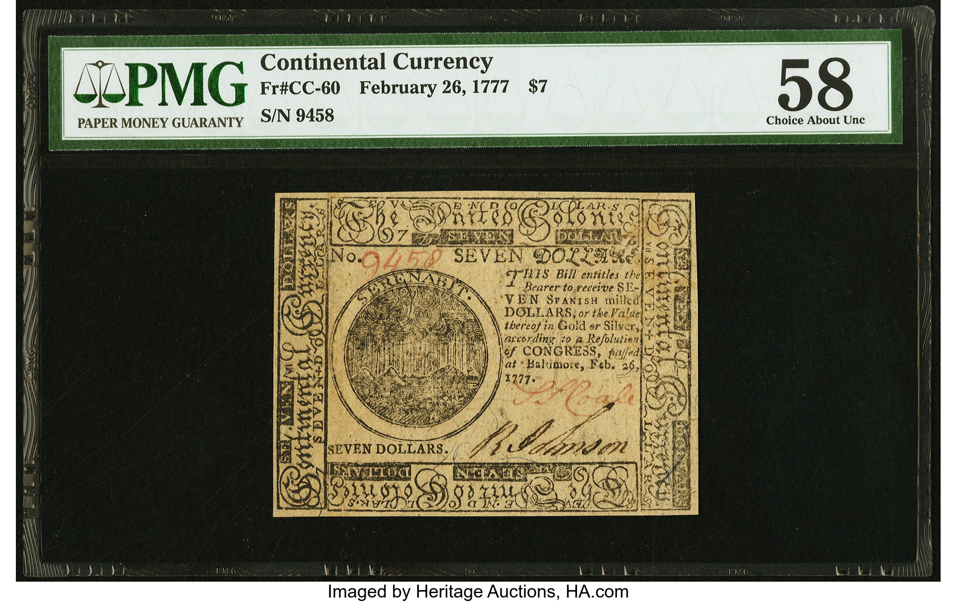 sample image for 1777 $7 CC60 Baltimore