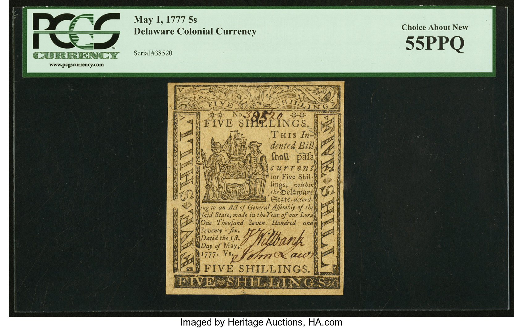 sample image for 1777 1-May 5s (Fr.# DE89)