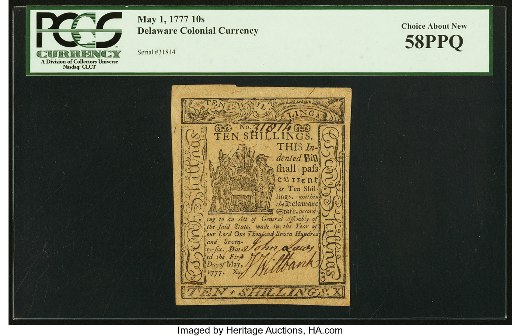 sample image for 1777 1-May 10s (Fr.# DE91)