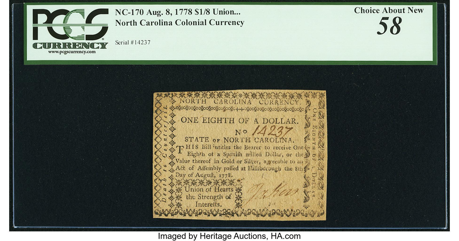 sample image for 1778 8-Aug $ (Fr.# NC170)
