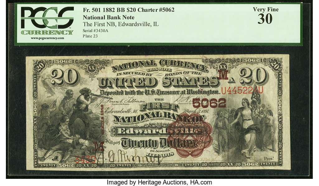 sample image for 1882 2nd Charter Period $20  Brown Back 1st Issue (Fr.# 501)