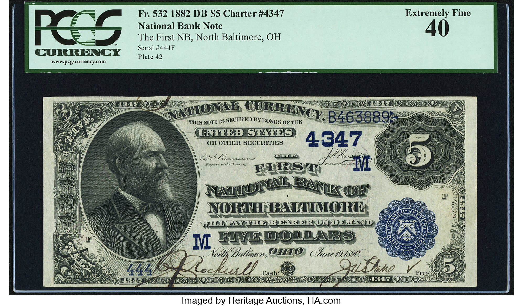 sample image for 1882 2nd Charter Period $5  Date Back 2nd Issue (Fr.# 532)