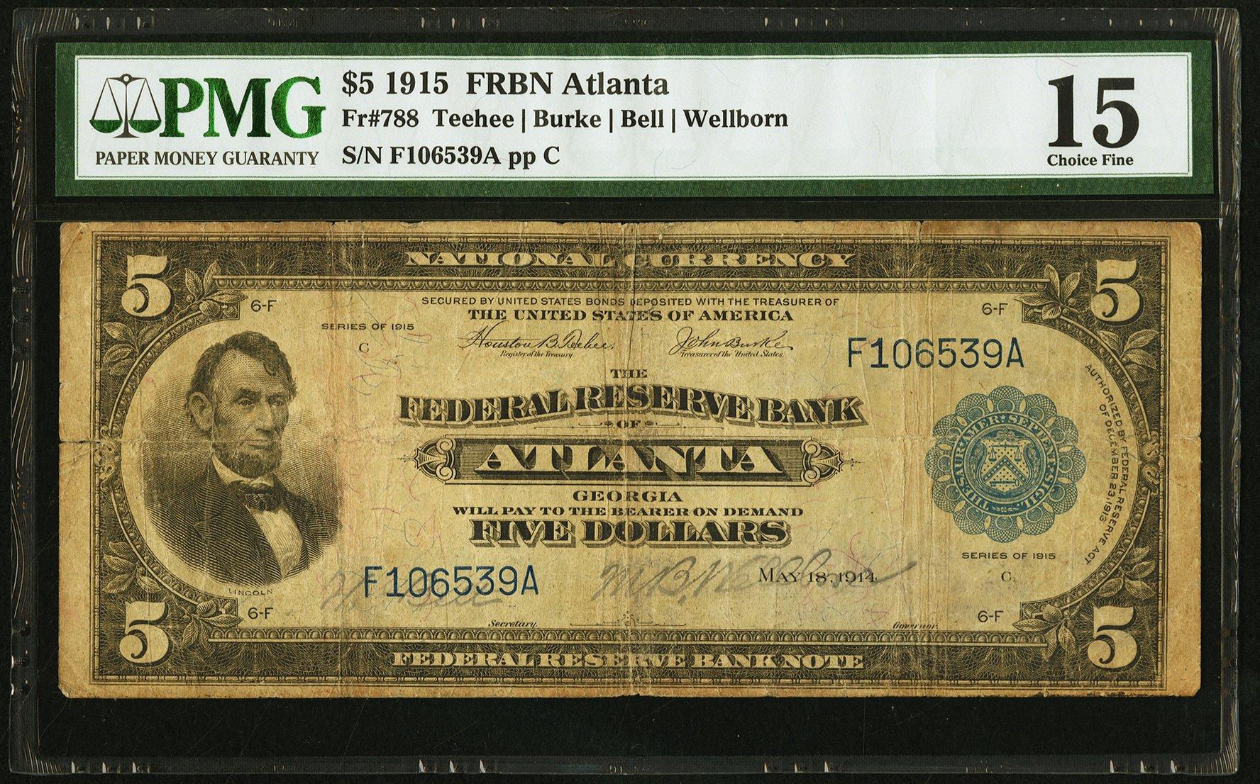 sample image for 1915 $5  Atlanta (Fr.# 788)