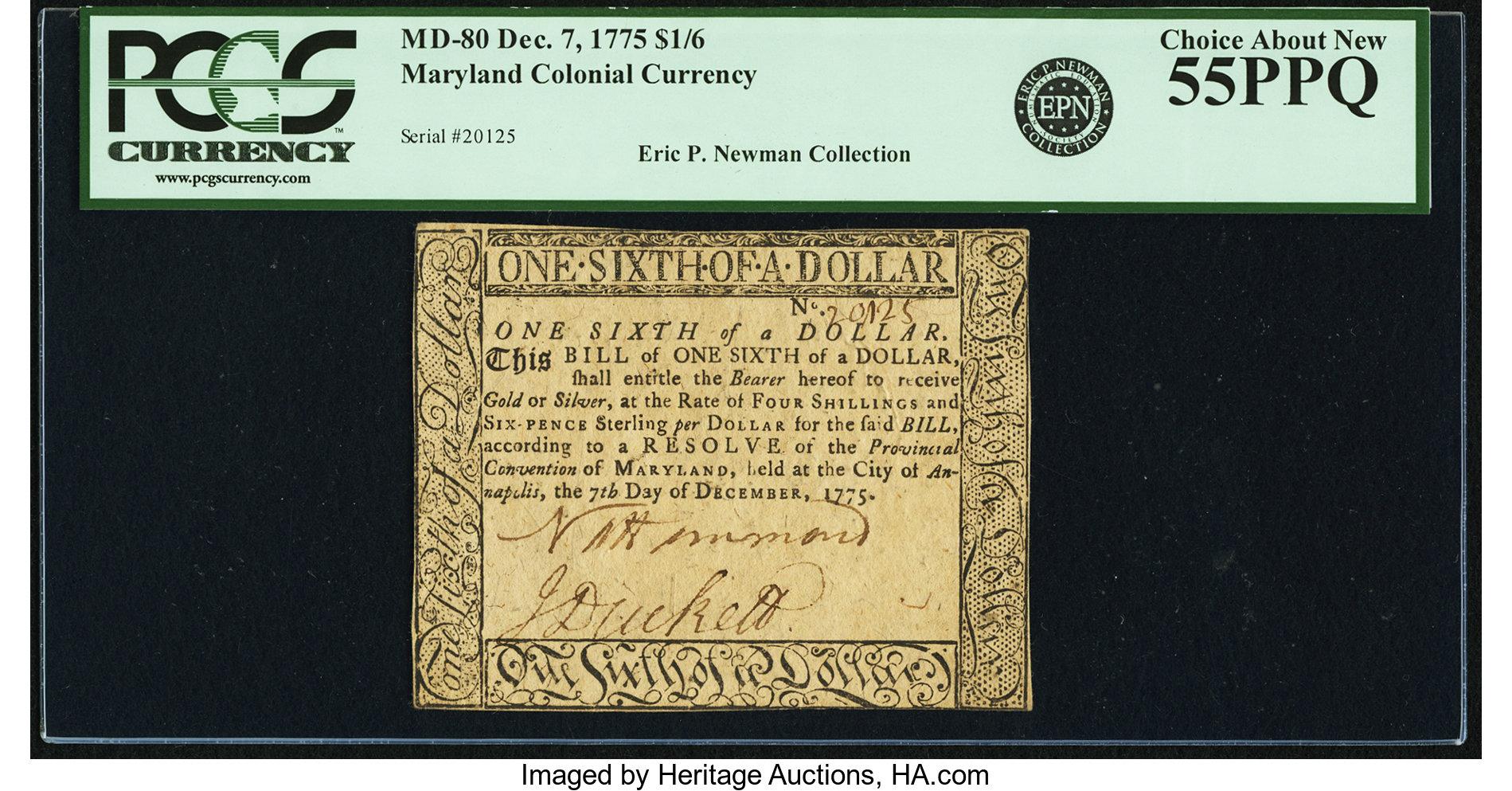 sample image for 1775 7-Dec $1/6 (Fr.# MD80)