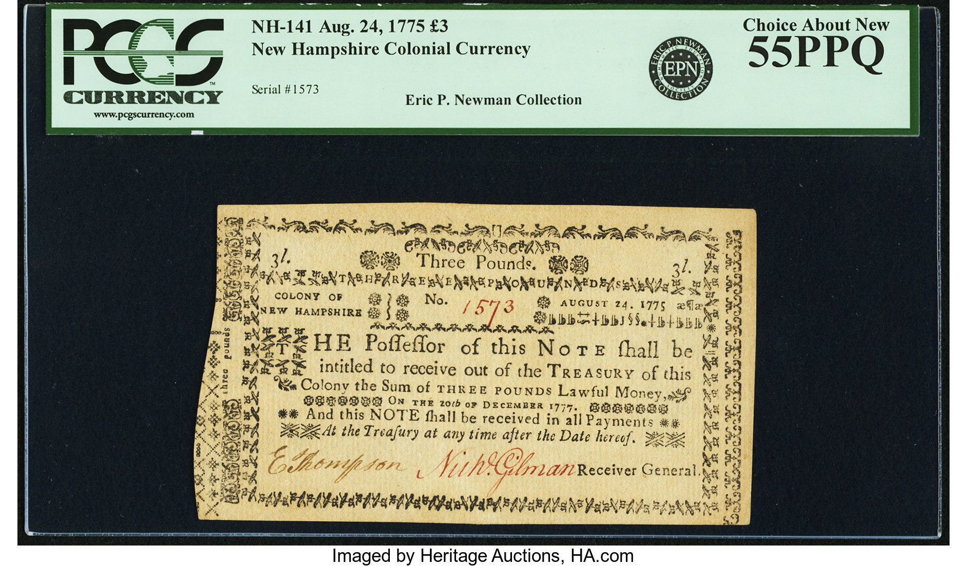 sample image for 1775 25-Jul £3 (Fr.# NH141)