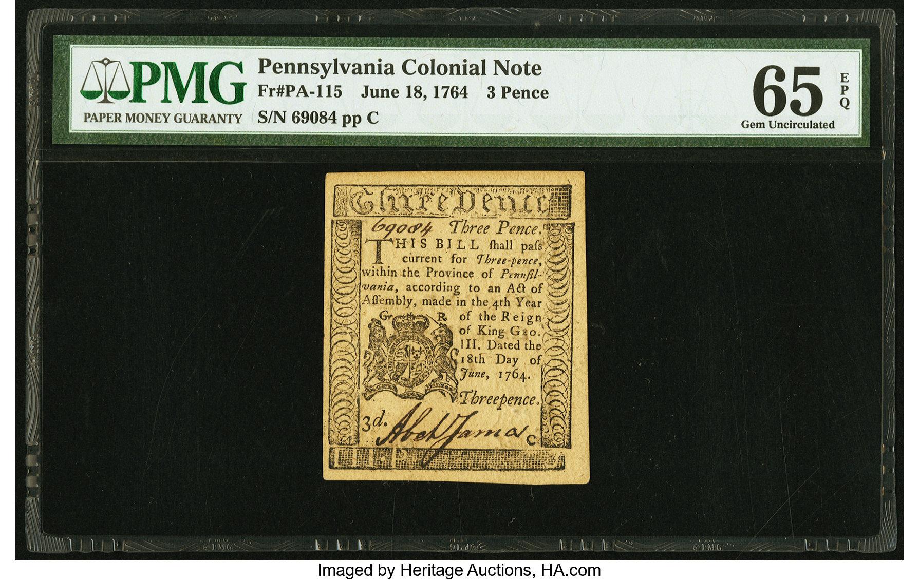 sample image for 1764 18-Jun 3d (Fr.# PA115)