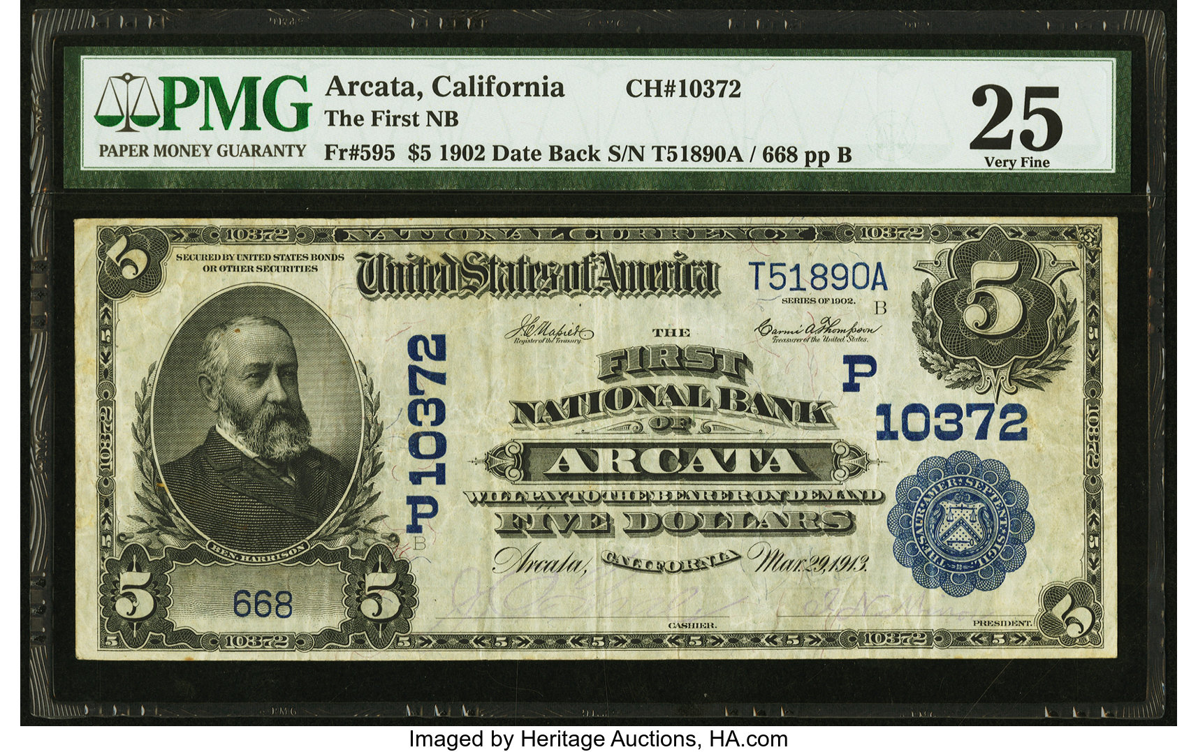 sample image for 1902 3rd Charter Period $5  Date Back 2nd Issue (Fr.# 595)