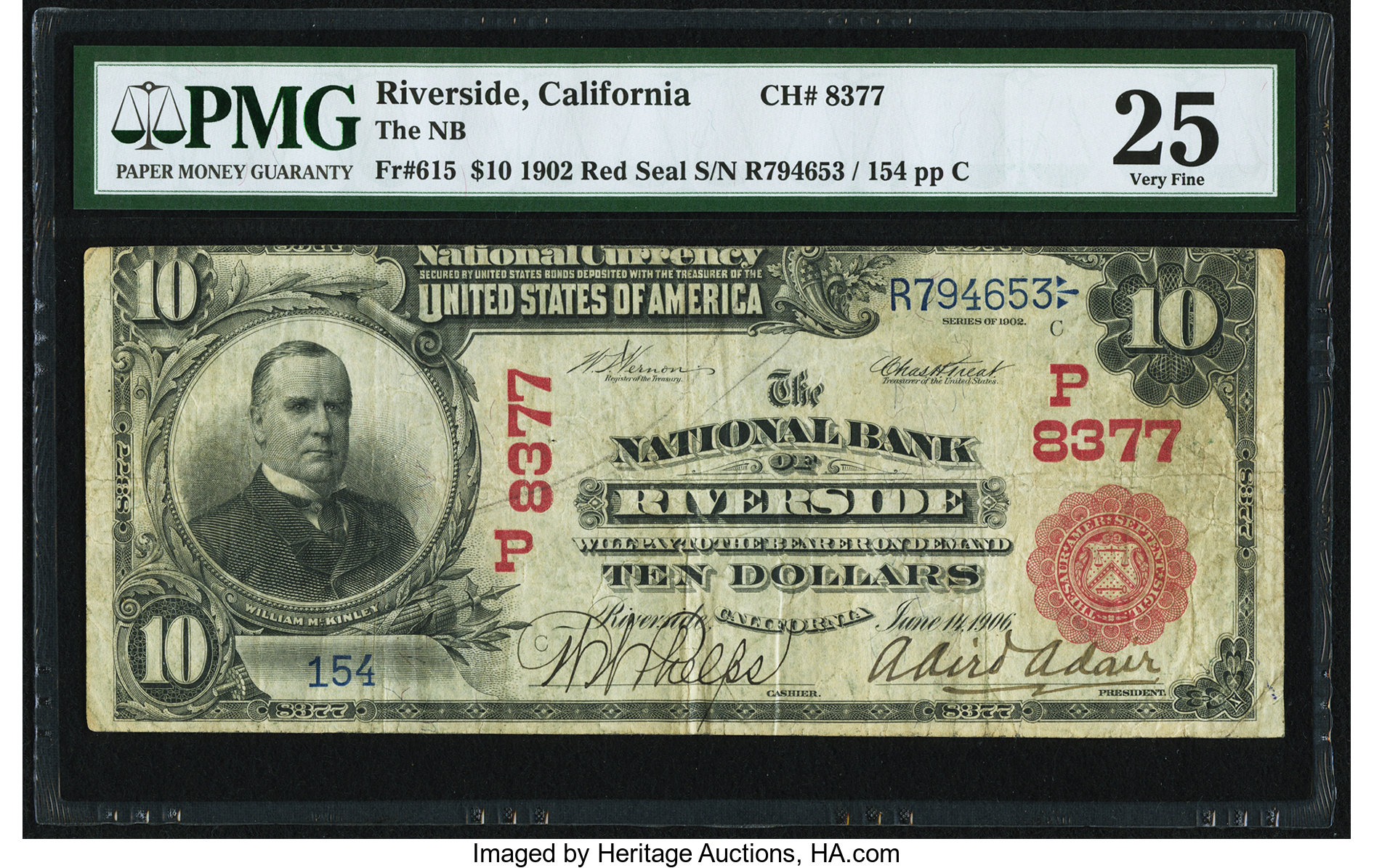 sample image for 1902 3rd Charter Period $10  Red Seal 1st Issue (Fr.# 615)