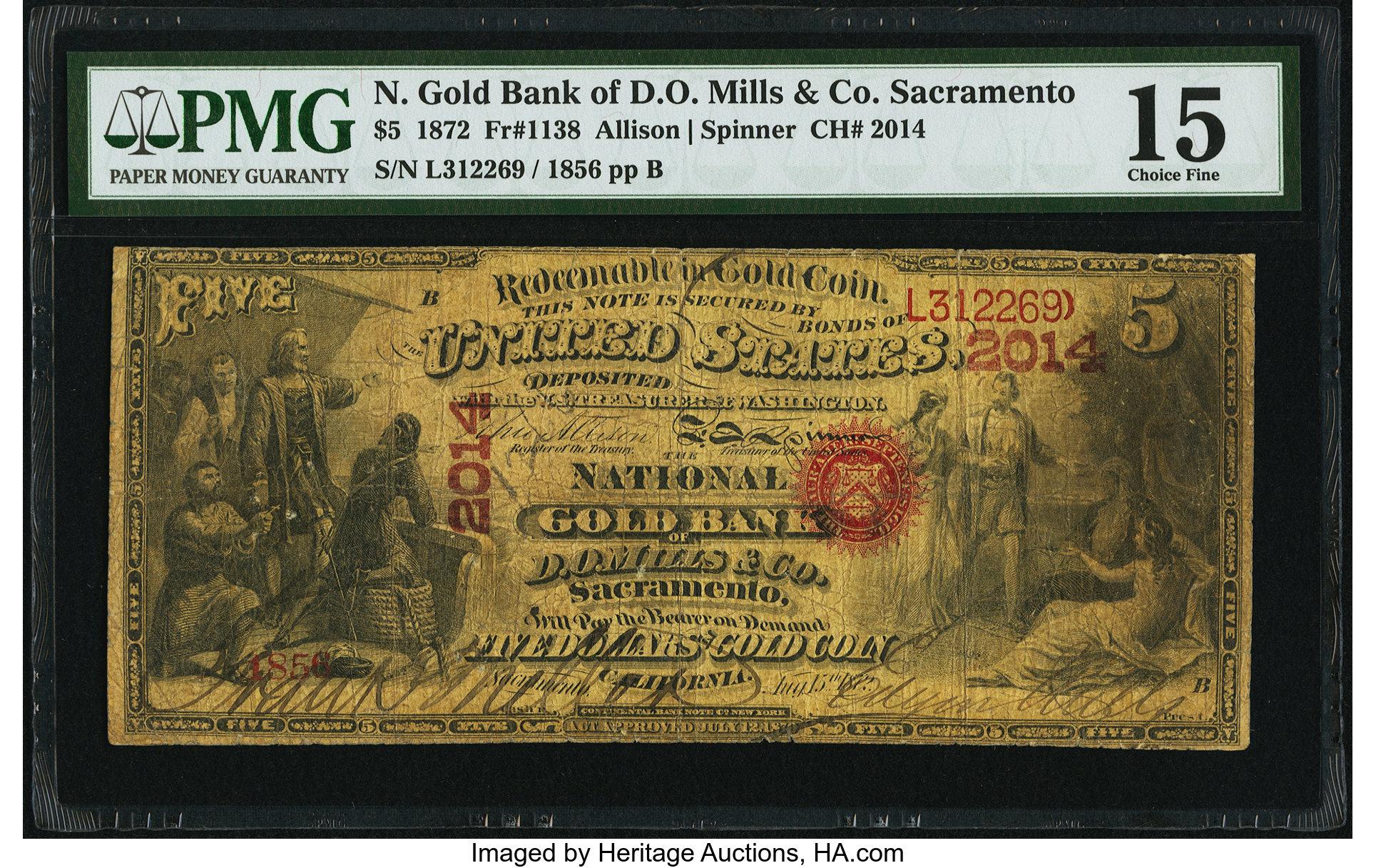sample image for 1872 $5  Sacramento (Fr.# 1138)