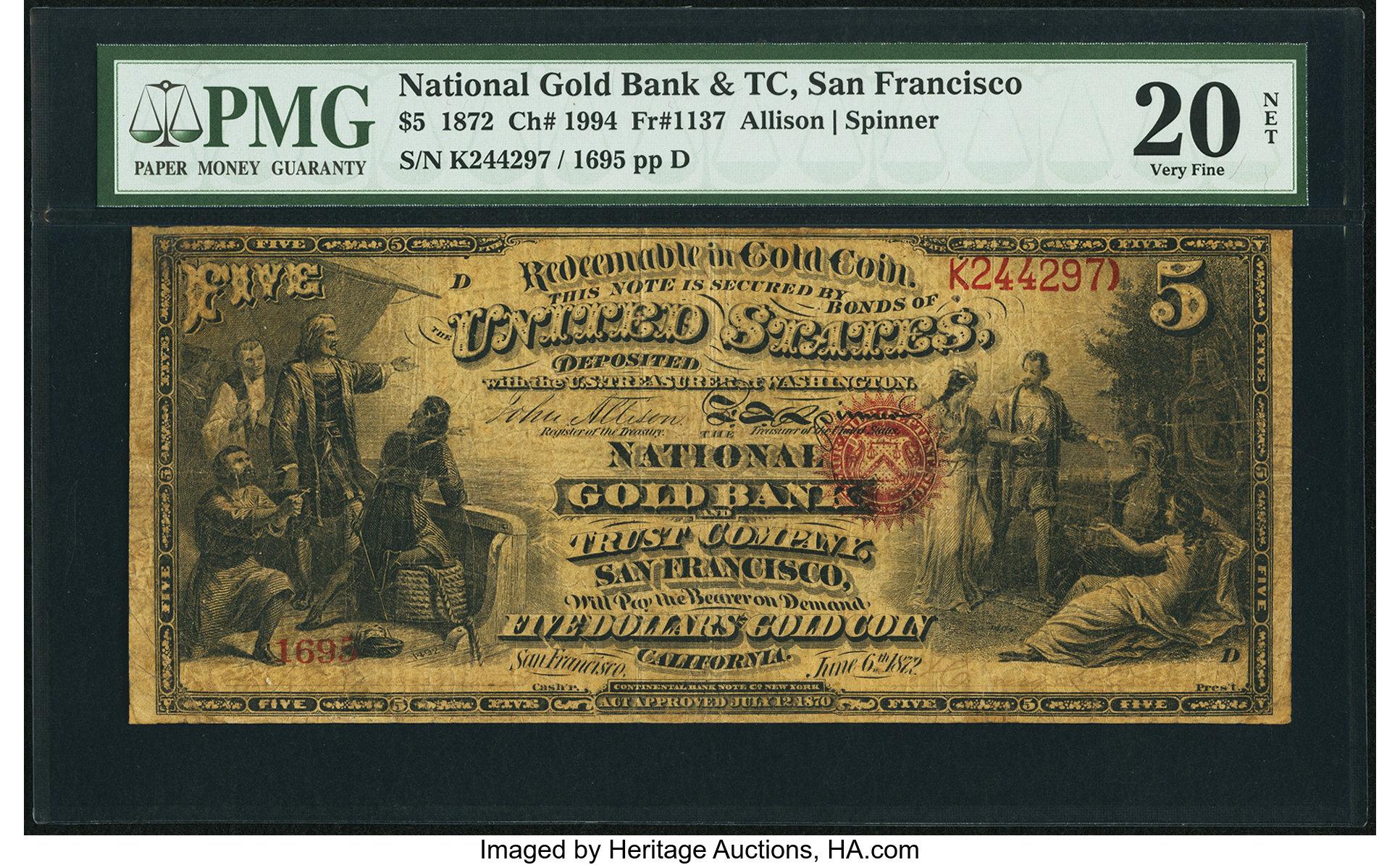 sample image for 1872 $5  San Francisco (Fr.# 1137)