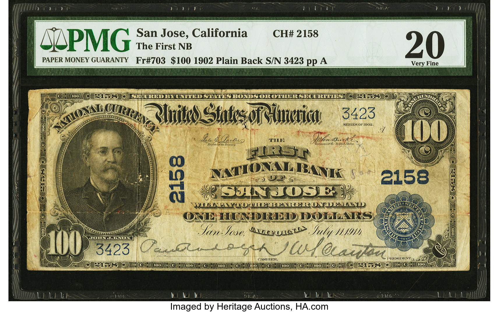 sample image for 1902 3rd Charter Period $100  Plain Back 3rd Issue (Fr.# 703)
