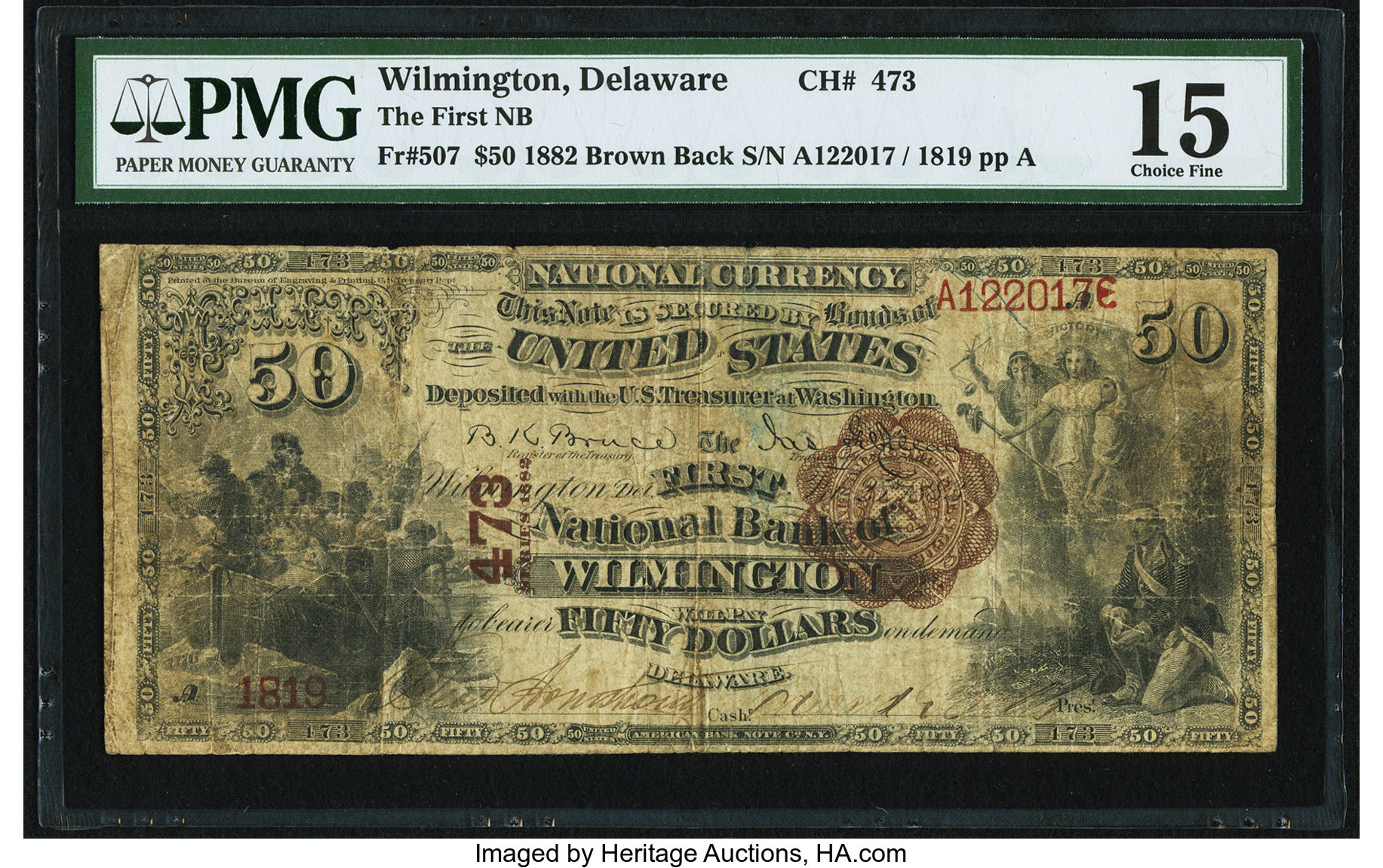 sample image for 1882 2nd Charter Period $50  Brown Back 1st Issue (Fr.# 507)