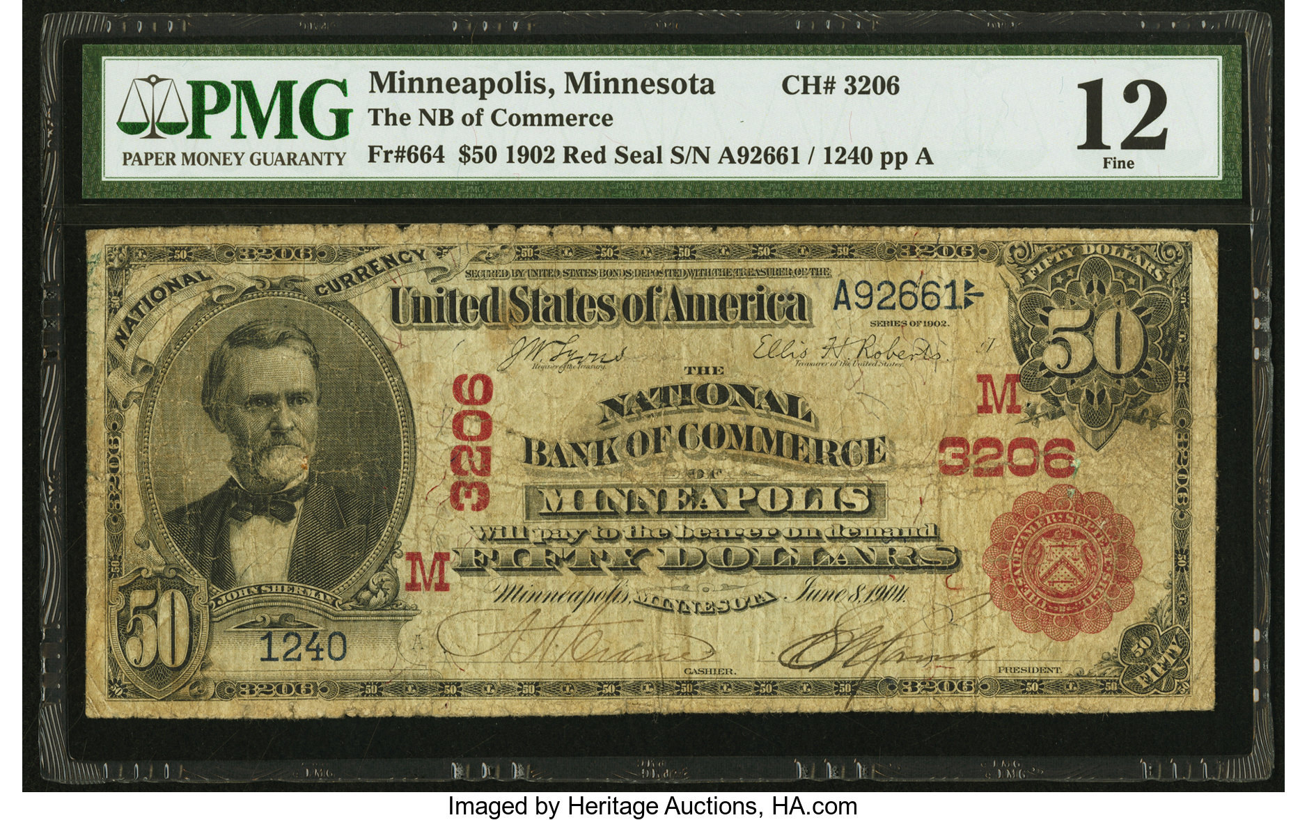 sample image for 1902 3rd Charter Period $50  Red Seal 1st Issue (Fr.# 664)