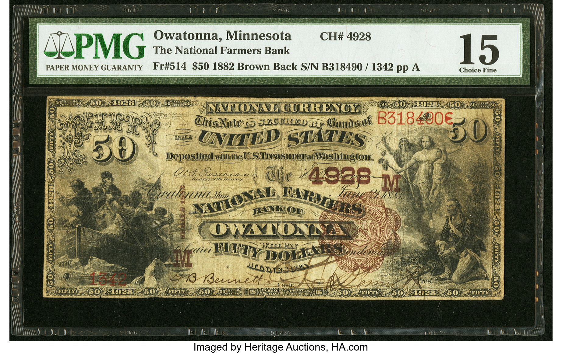 sample image for 1882 2nd Charter Period $50  Brown Back 1st Issue (Fr.# 514)