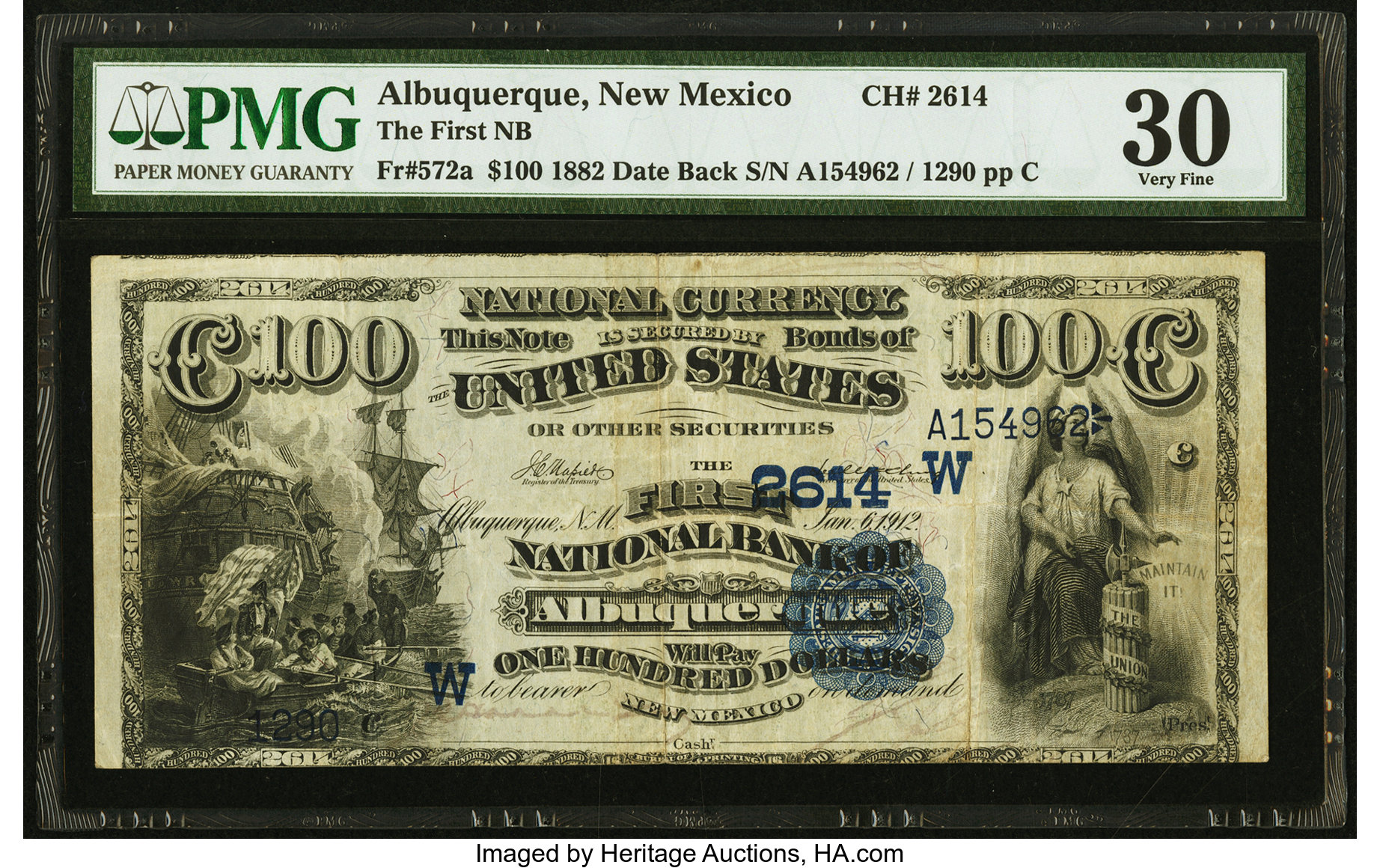 sample image for 1882 2nd Charter Period $100  Date Back 2nd Issue (Fr.# 572a)