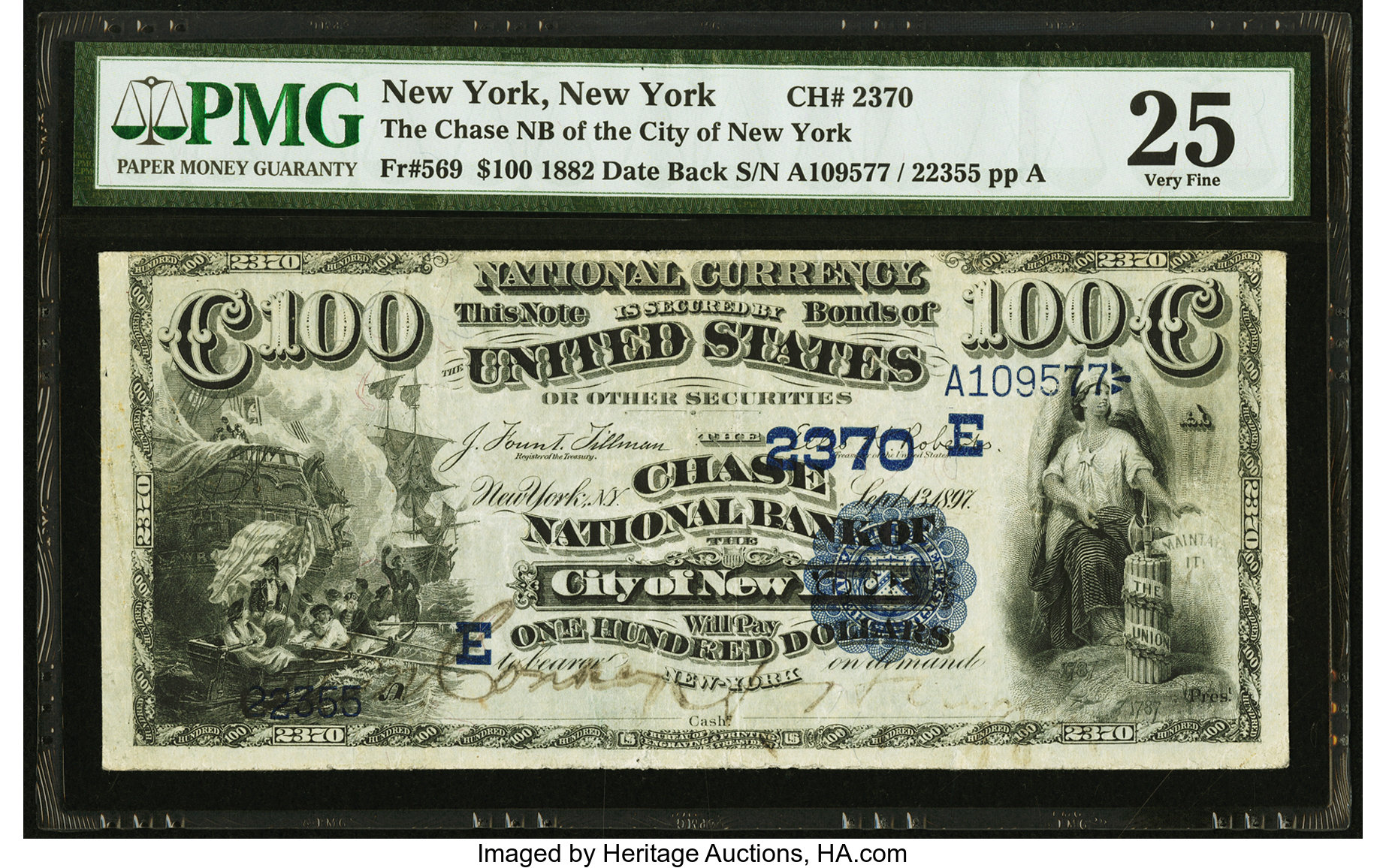sample image for 1882 2nd Charter Period $100  Date Back 2nd Issue (Fr.# 569)