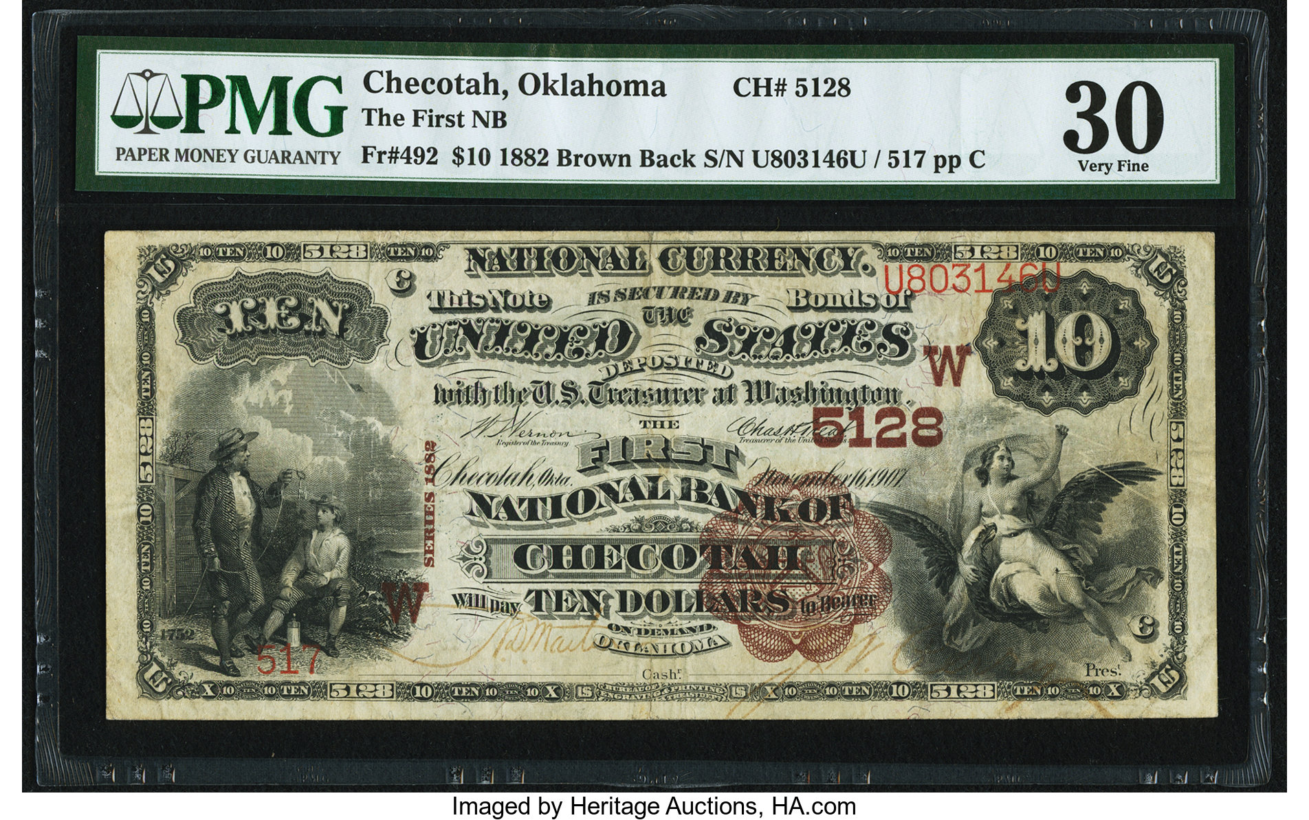 sample image for 1882 2nd Charter Period $10  Brown Back 1st Issue (Fr.# 492)