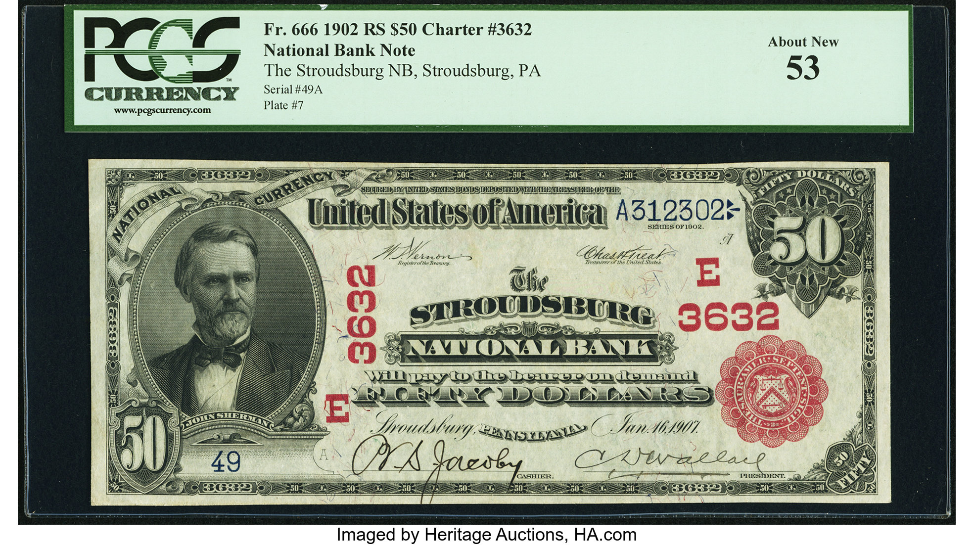 sample image for 1902 3rd Charter Period $50  Red Seal 1st Issue (Fr.# 666)
