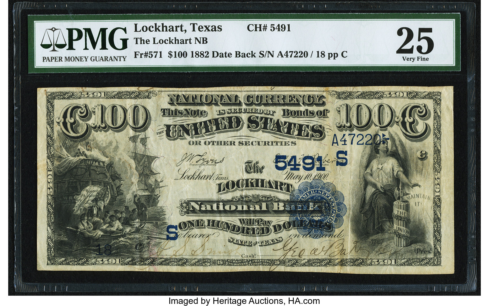 sample image for 1882 2nd Charter Period $100  Date Back 2nd Issue (Fr.# 571)