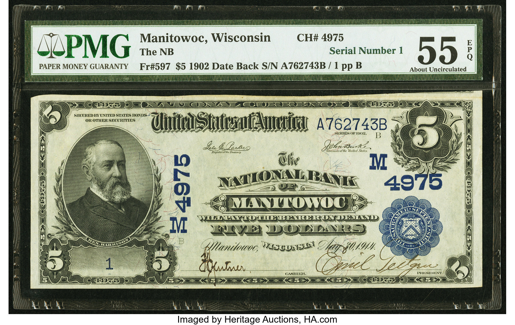 sample image for 1902 3rd Charter Period $5  Date Back 2nd Issue (Fr.# 597)