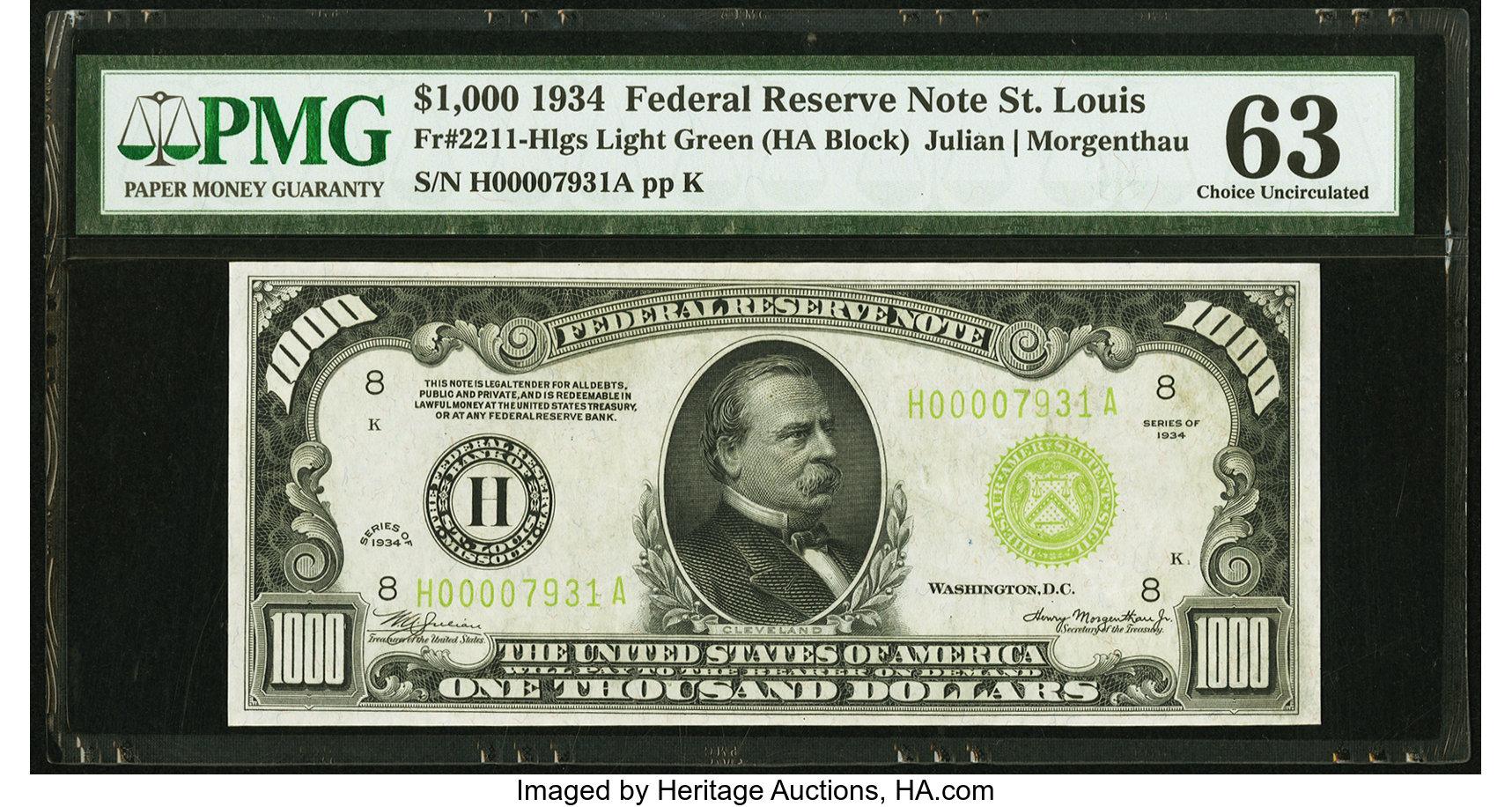 sample image for Fr.2211H $1,000 1934 St. Louis