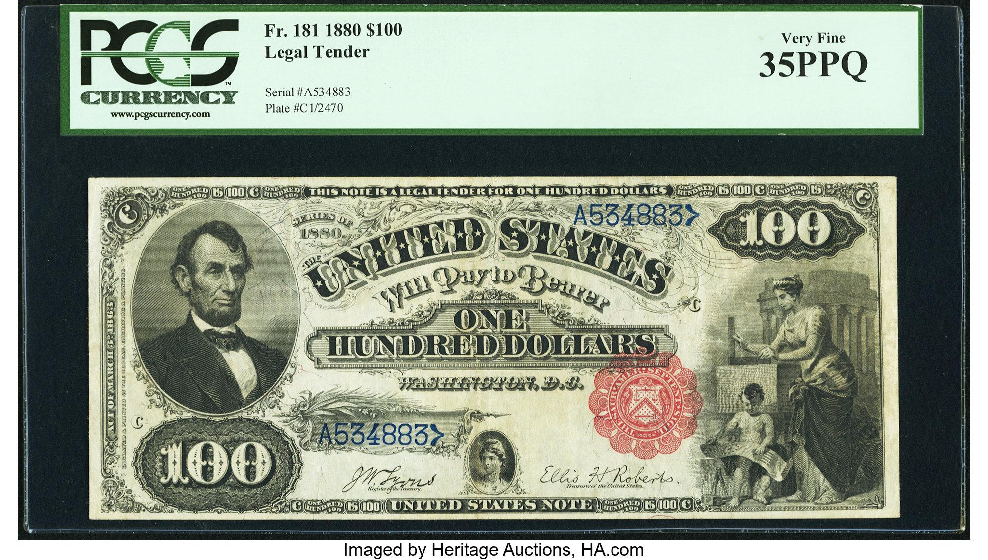 sample image for 1880 $100  (Fr.# 181)