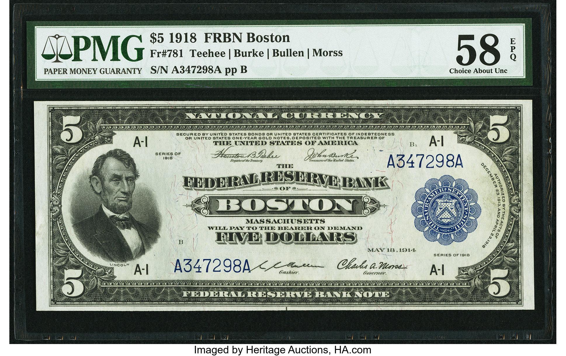 sample image for 1918 $5  Boston (Fr.# 781)