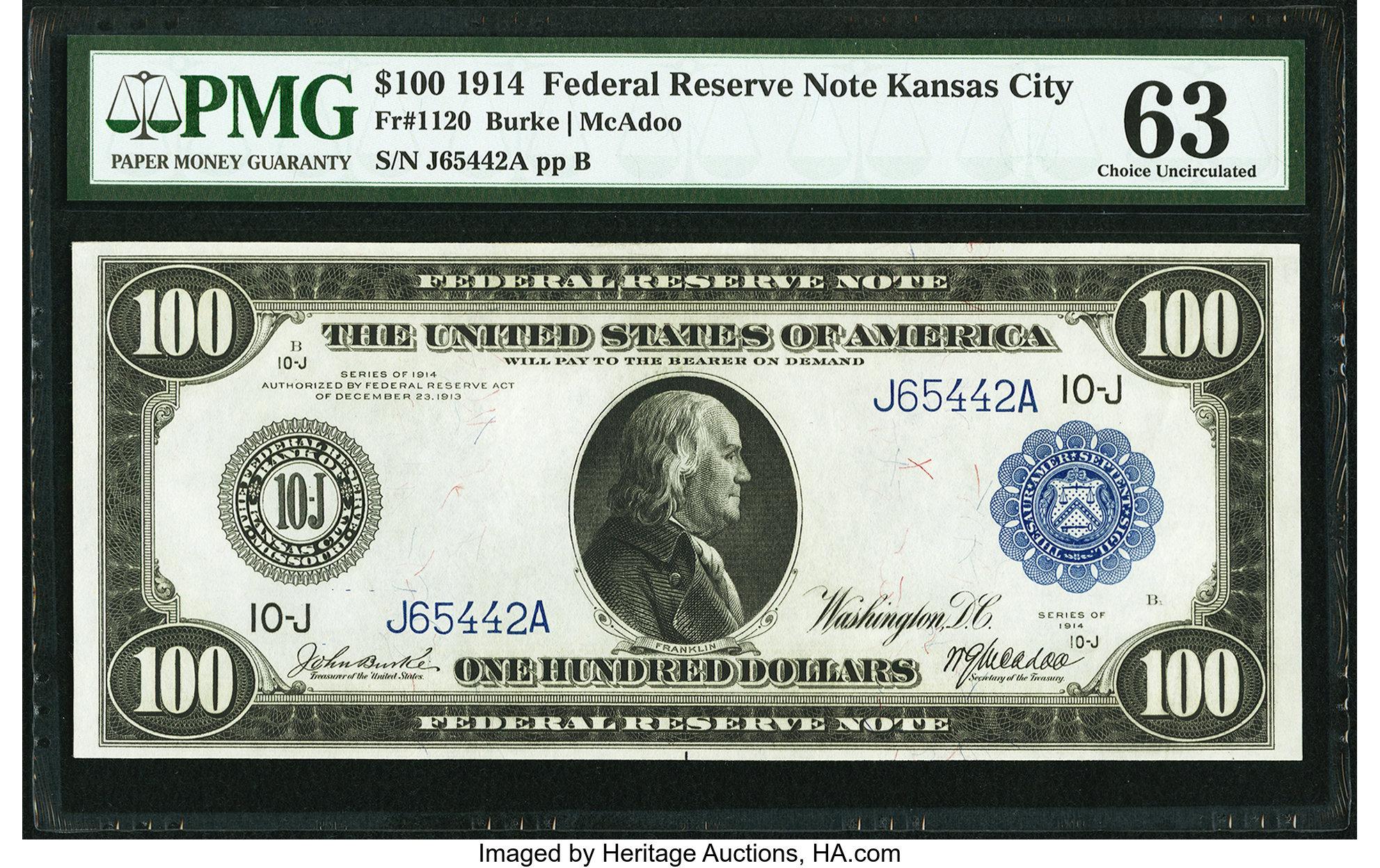 sample image for Fr.1120 $100 KC
