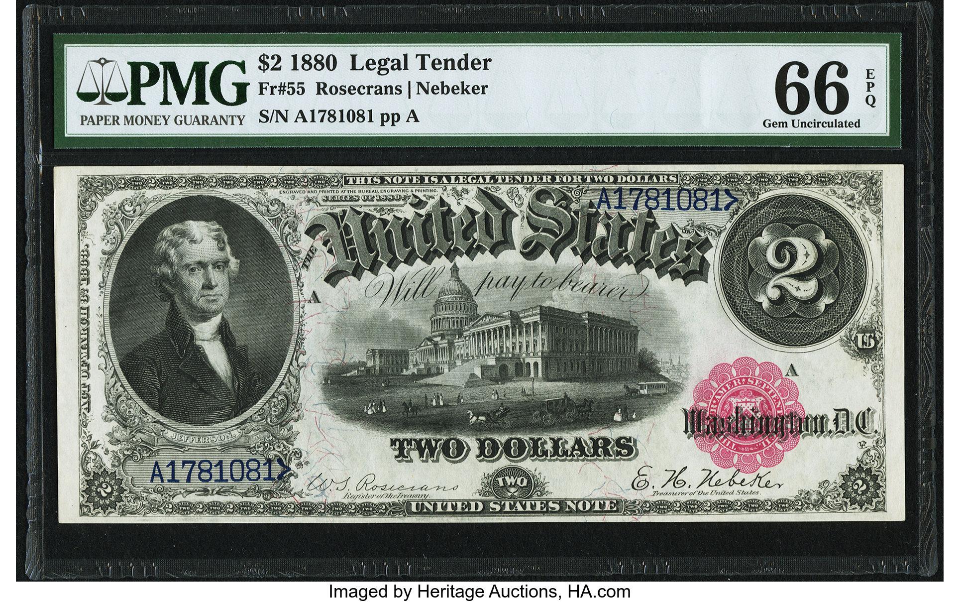 sample image for 1880 $2  (Fr.# 55)
