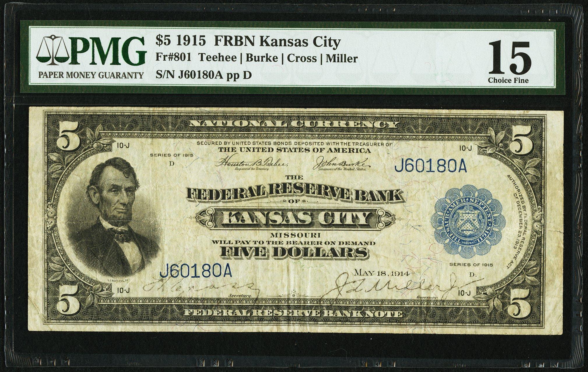 sample image for 1915 $5  Kansas City (Fr.# 801)