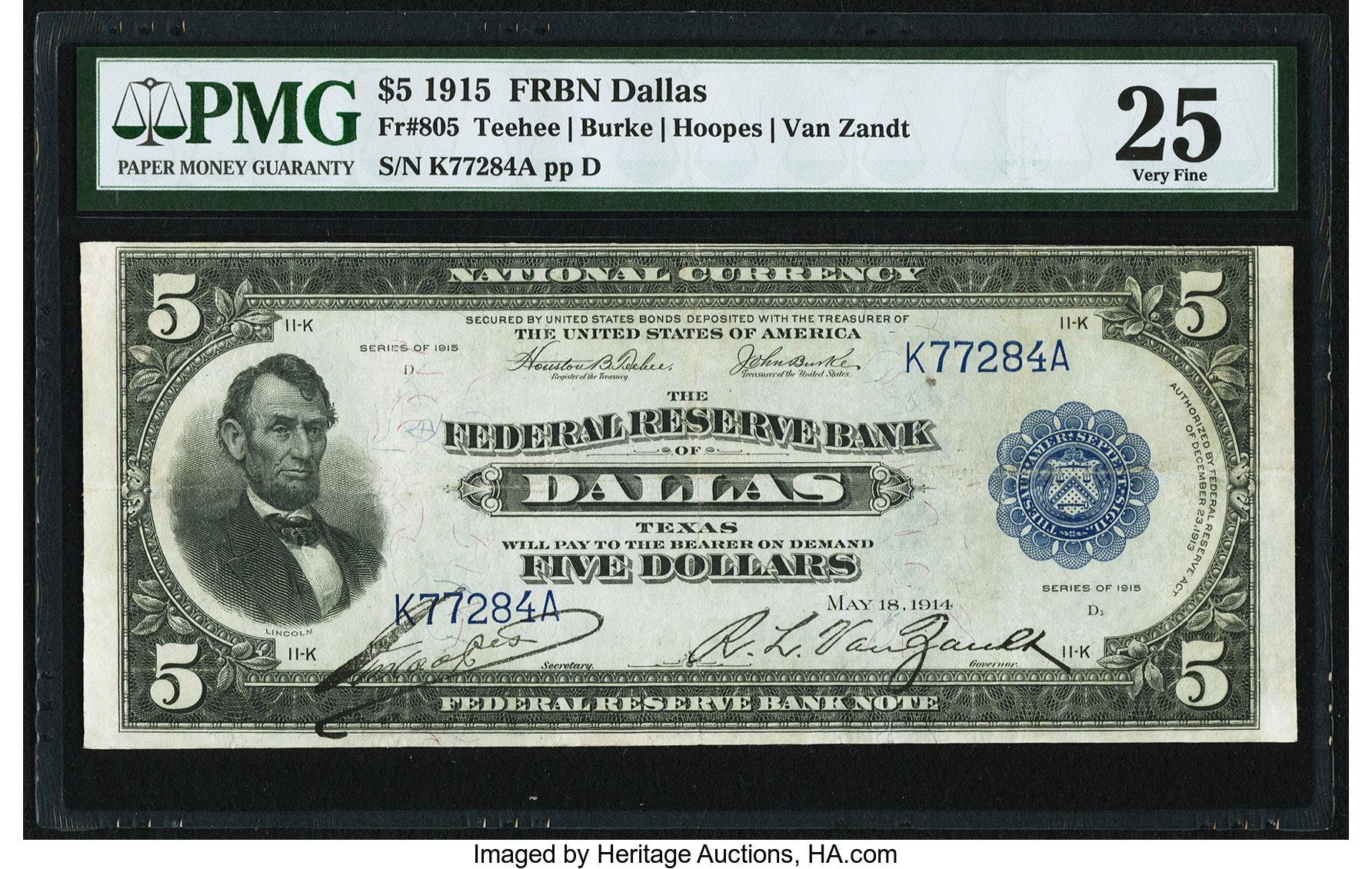 sample image for 1915 $5  Dallas (Fr.# 805)