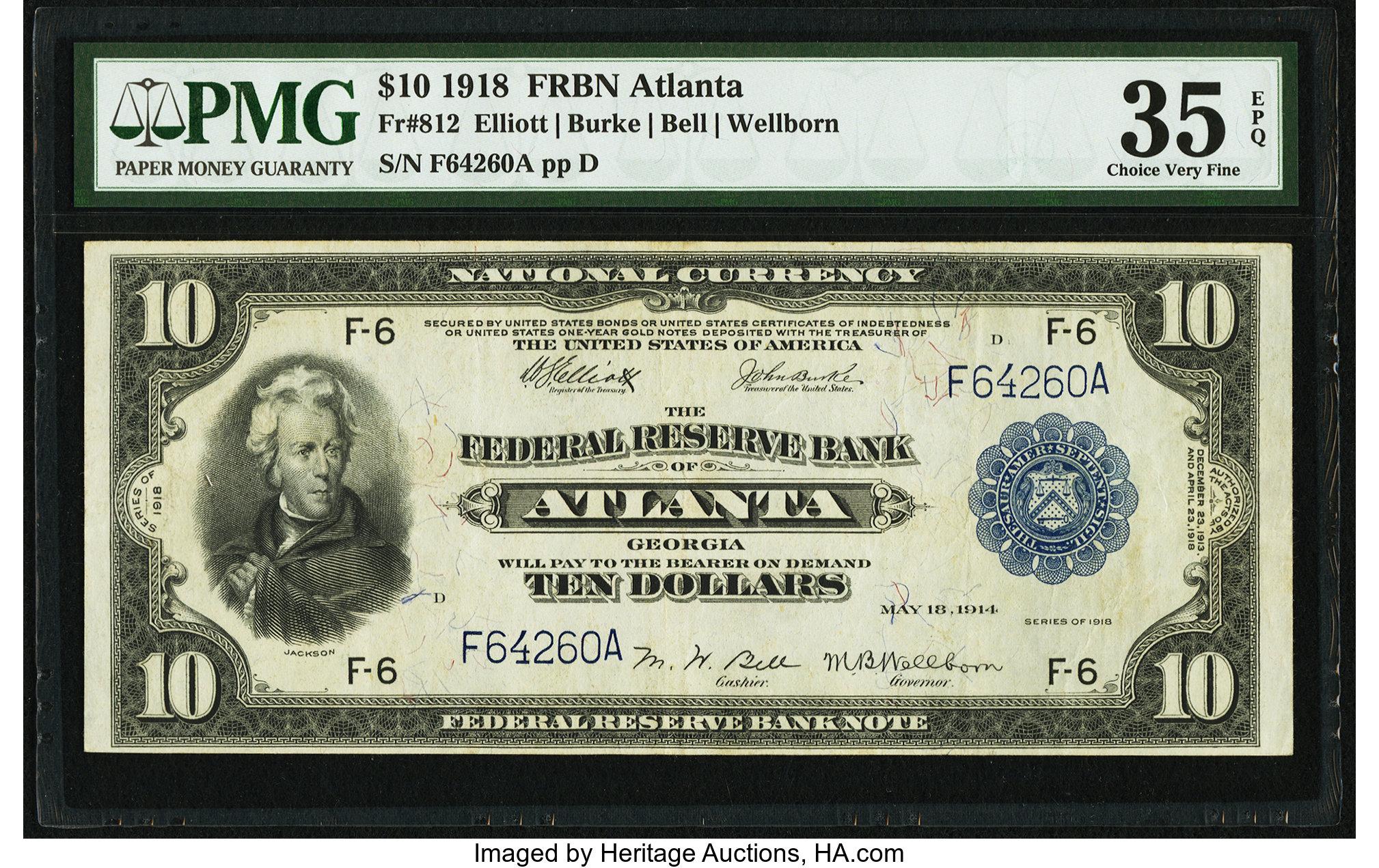 sample image for 1918 $10  Atlanta (Fr.# 812)