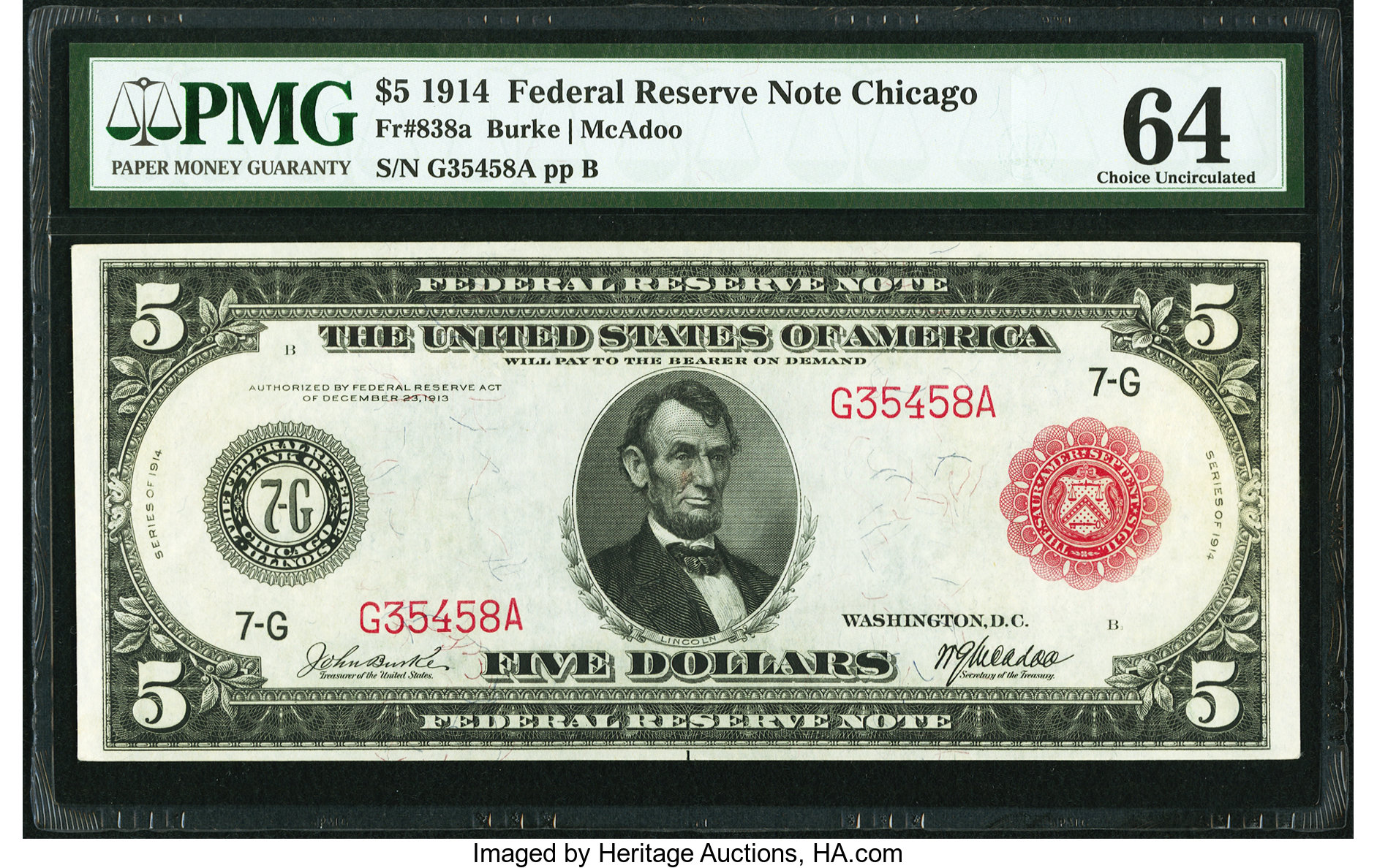 sample image for Fr.838A $5 Chicago RS