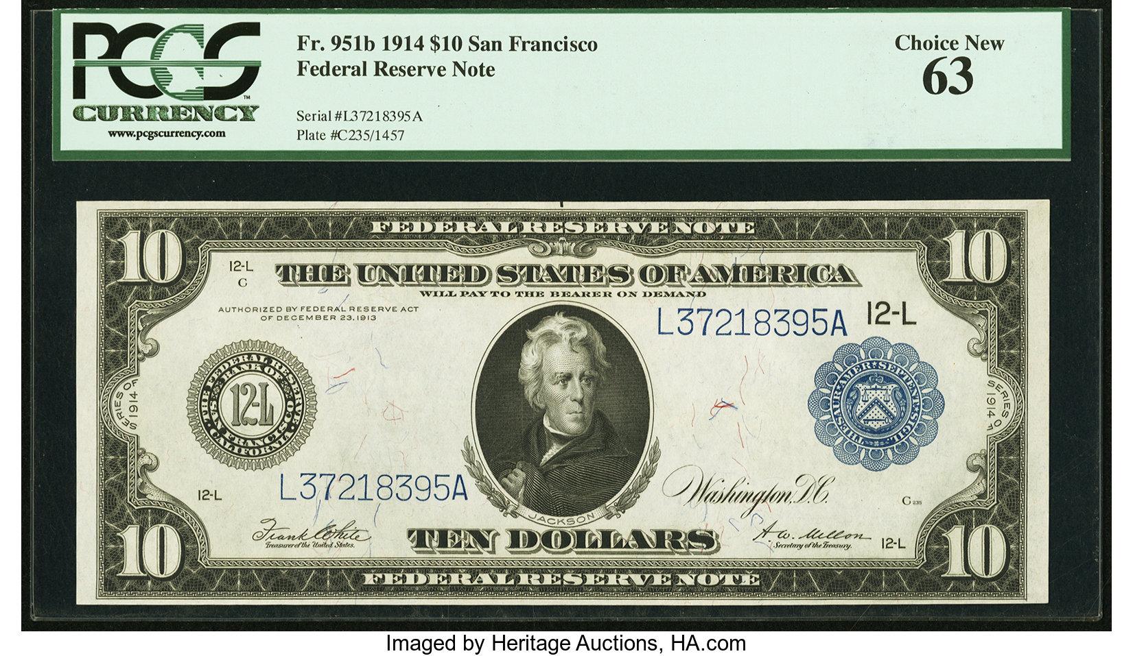 sample image for Fr.951B $10 SF