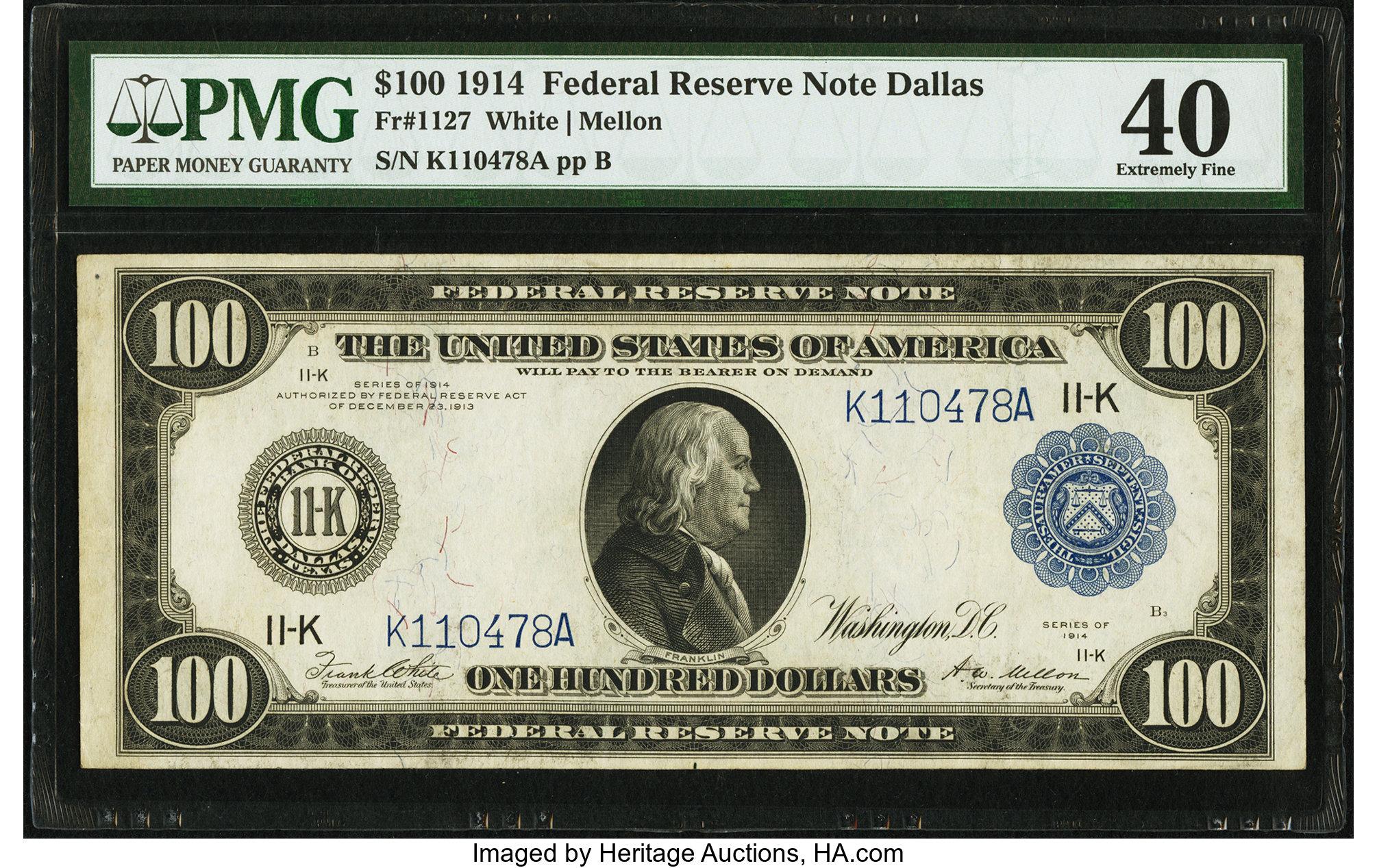 sample image for Fr.1127 $100 Dallas