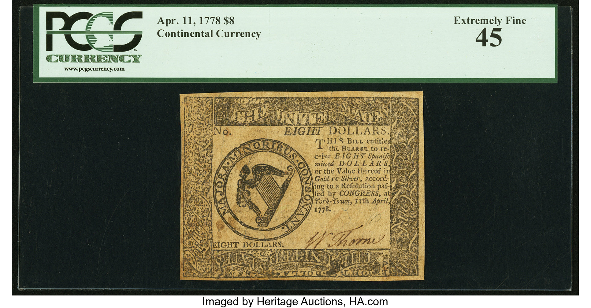 sample image for 1778 $8 CC75 Yorktown