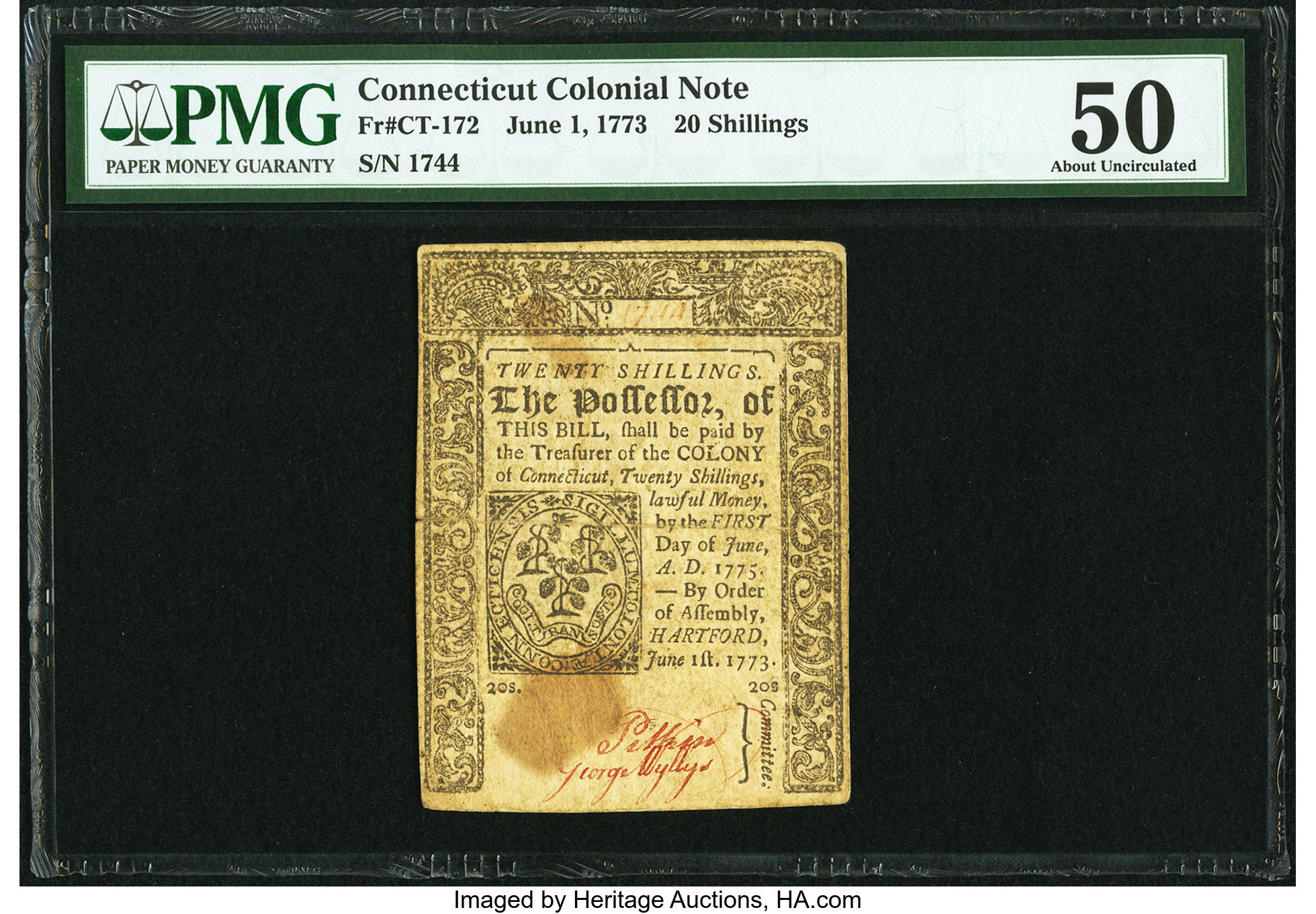 sample image for 1773 1-Jun 20s (Fr.# CT172)