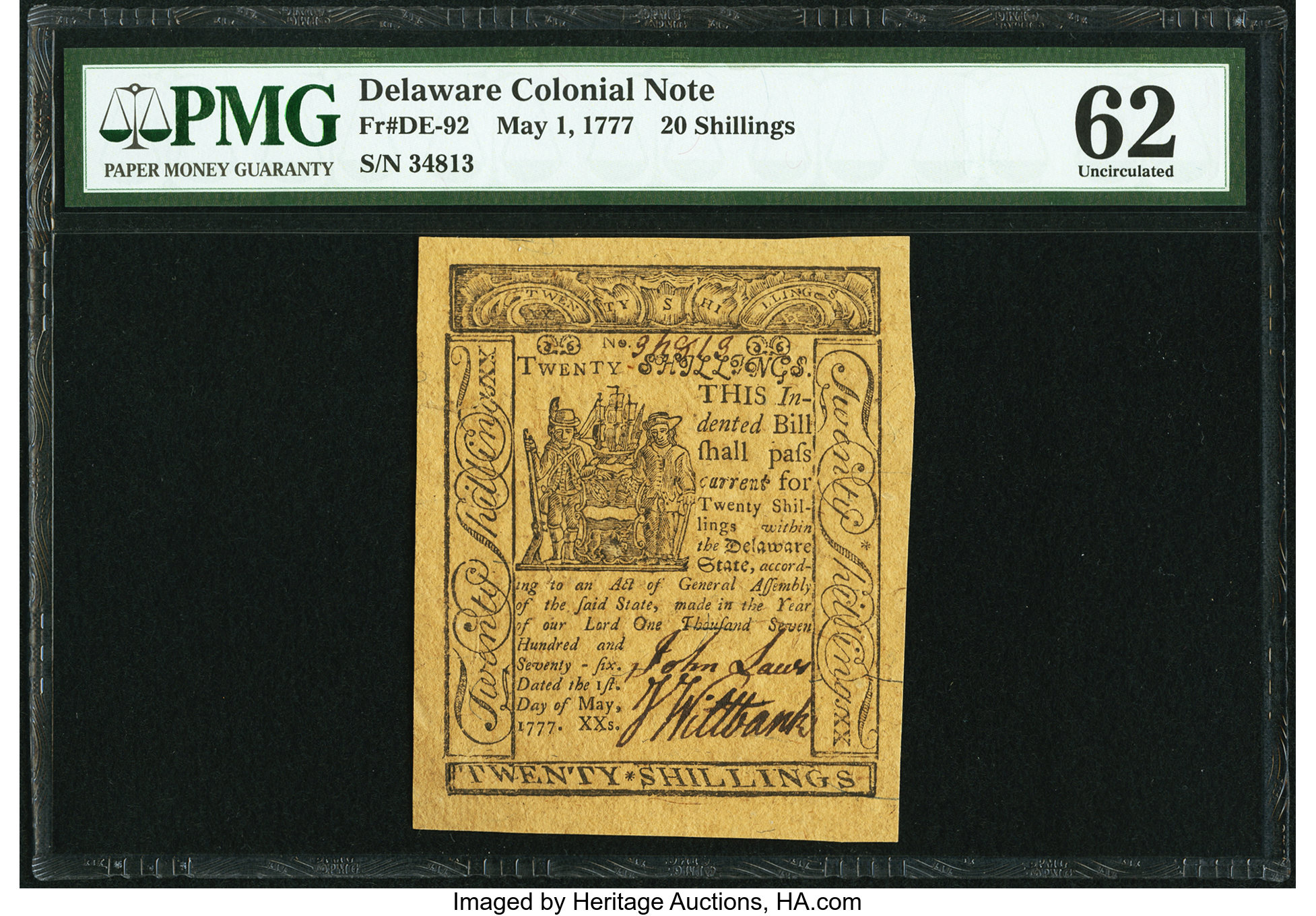 sample image for 1777 1-May 20s (Fr.# DE92)