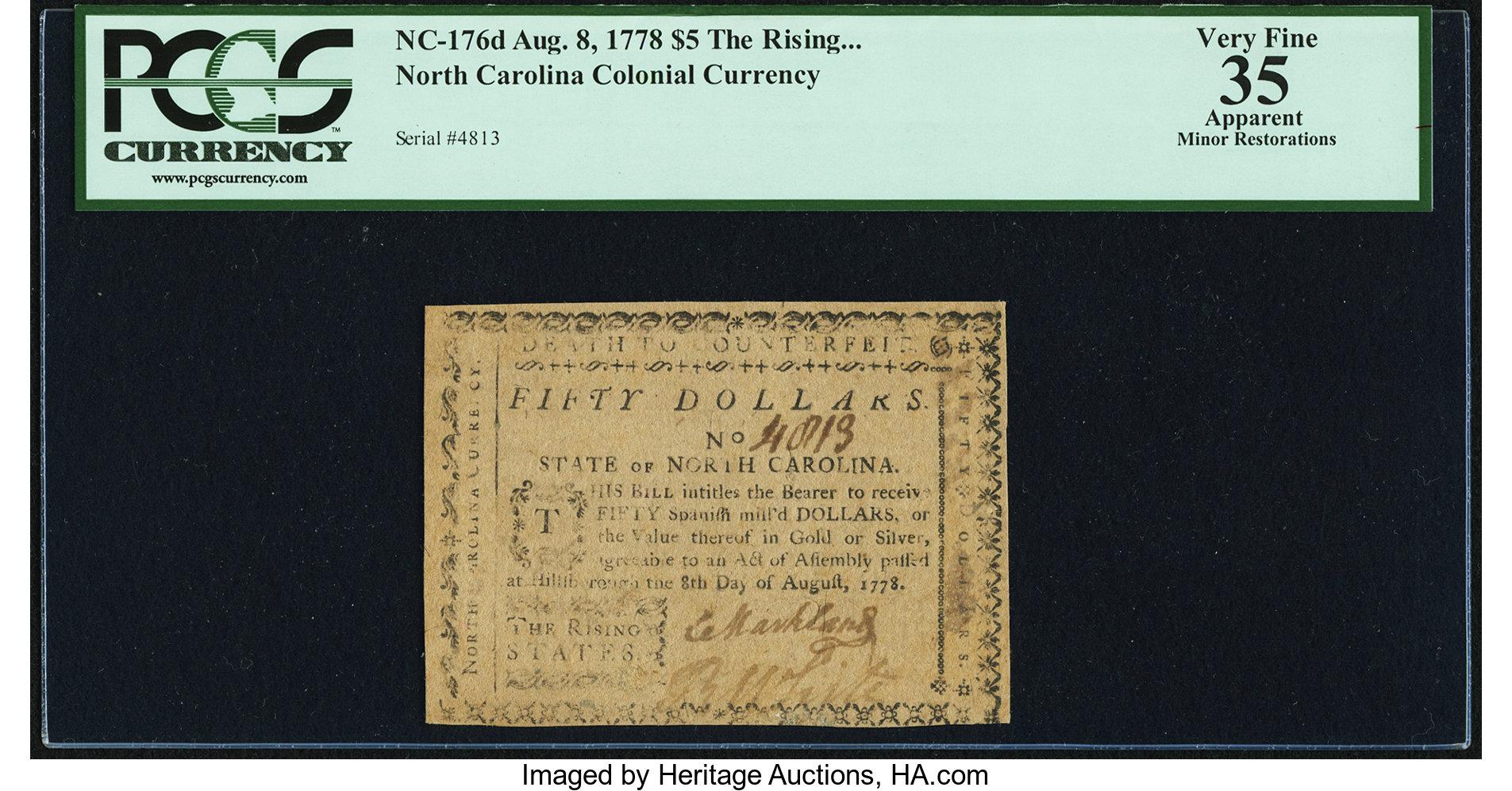 sample image for 1778 8-Aug $50  (Fr.# NC181)