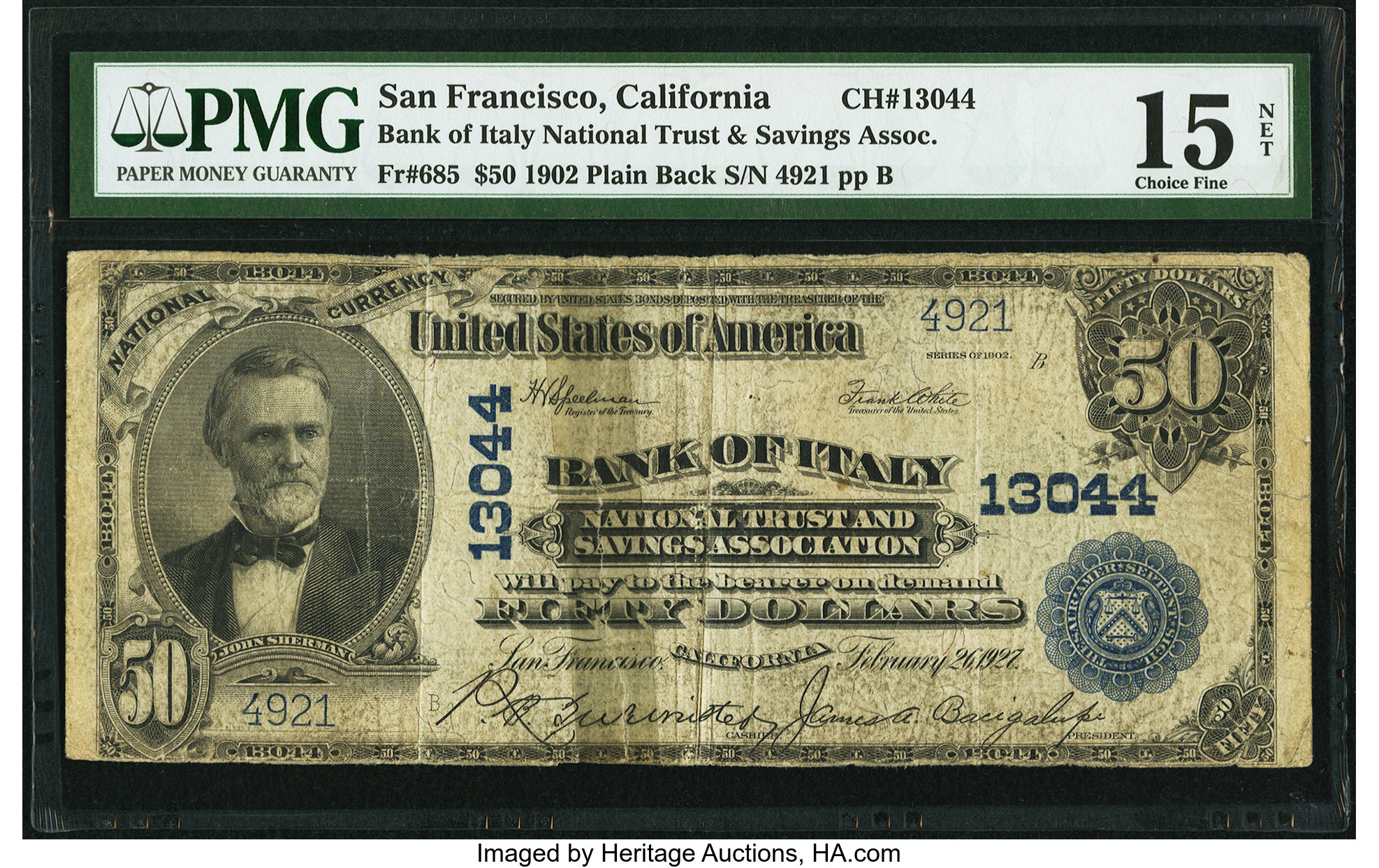 sample image for 1902 3rd Charter Period $50  Plain Back 3rd Issue (Fr.# 685)