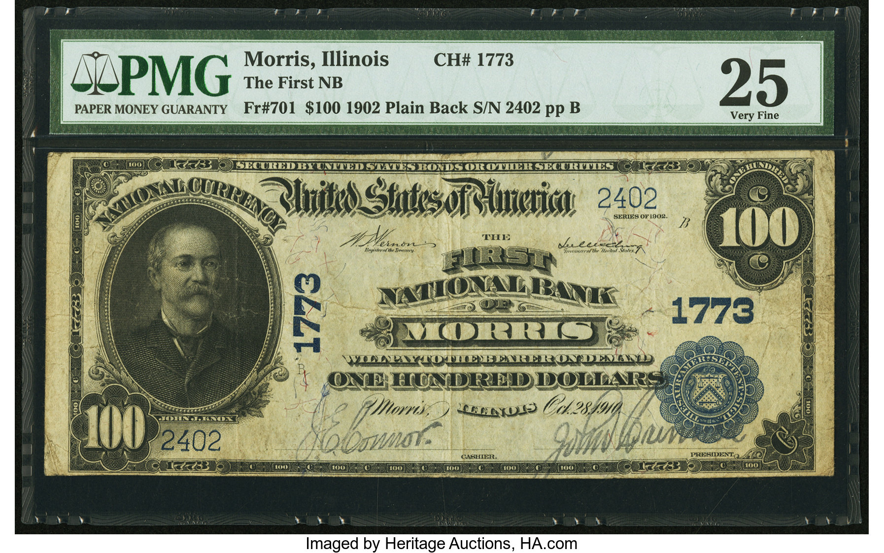sample image for 1902 3rd Charter Period $100  Plain Back 3rd Issue (Fr.# 701)