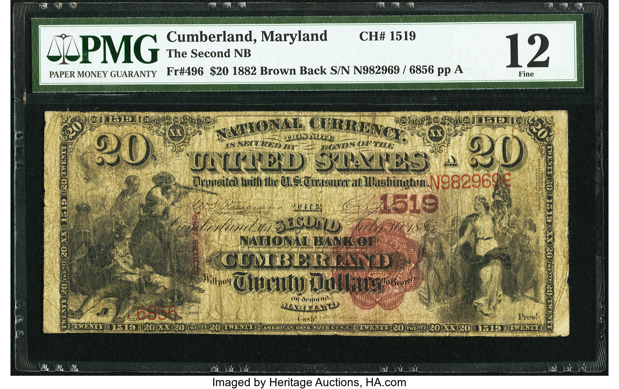 sample image for 1882 2nd Charter Period $20  Brown Back 1st Issue (Fr.# 496)