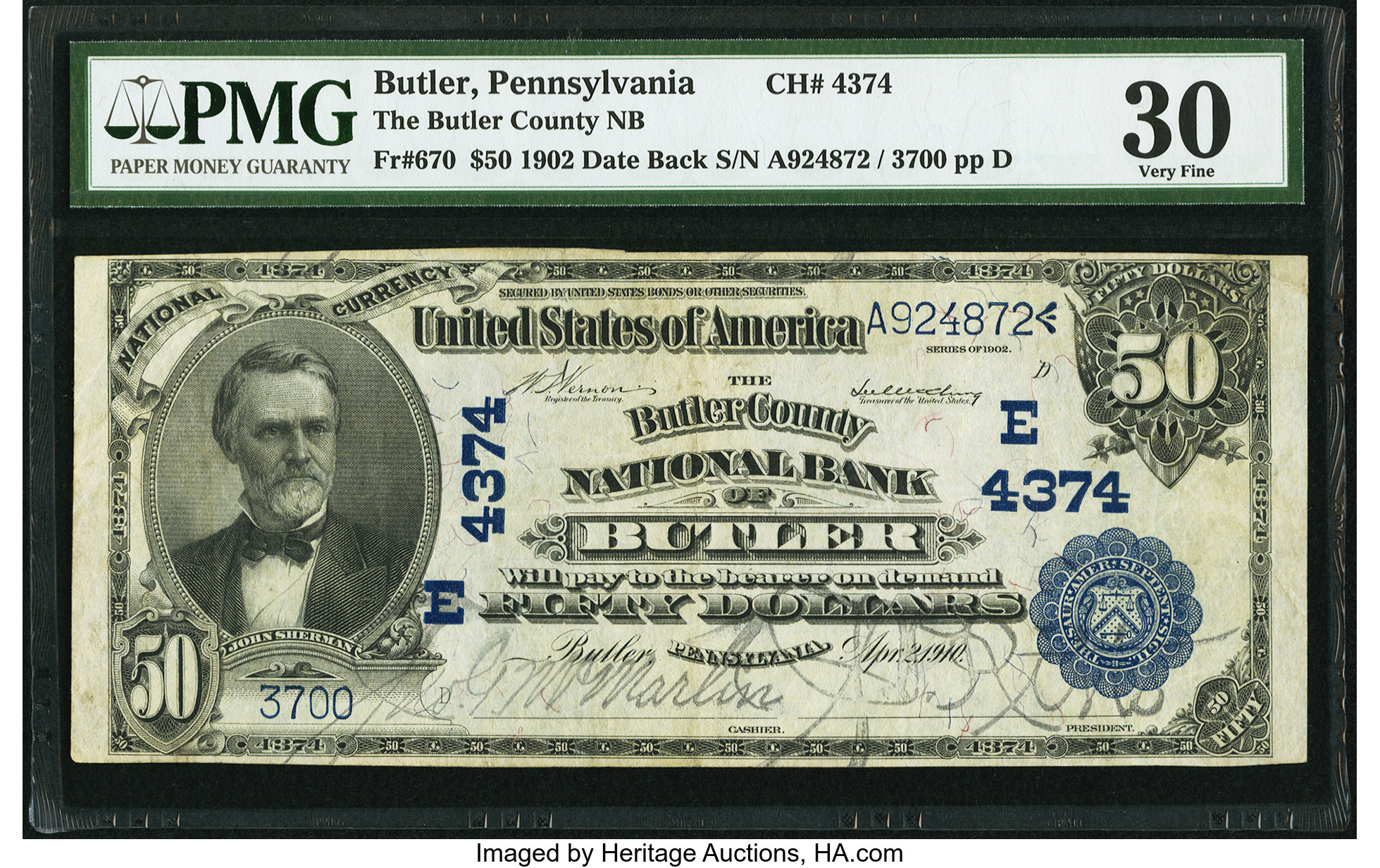 sample image for 1902 3rd Charter Period $50  Date Back 2nd Issue (Fr.# 670)