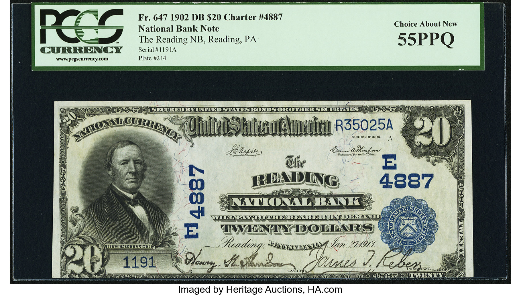 sample image for 1902 3rd Charter Period $20  Date Back 2nd Issue (Fr.# 647)