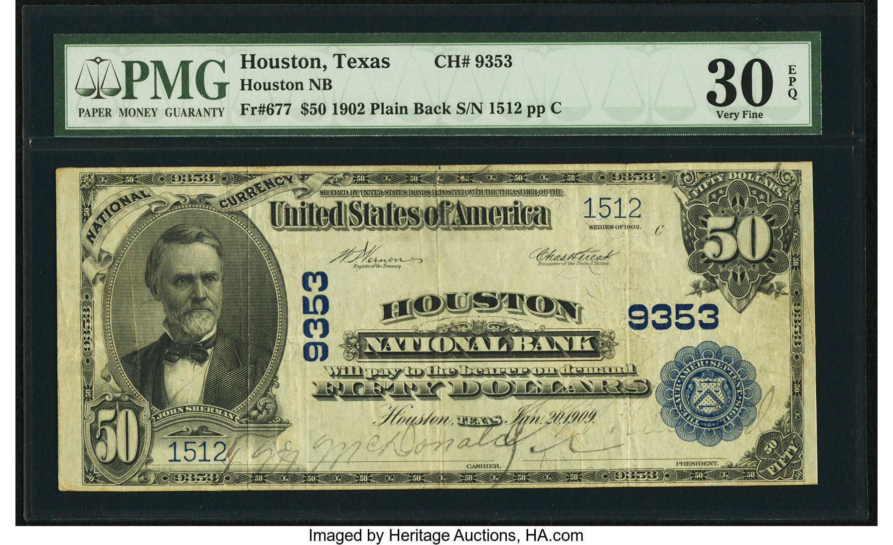 sample image for 1902 3rd Charter Period $50  Plain Back 3rd Issue (Fr.# 677)