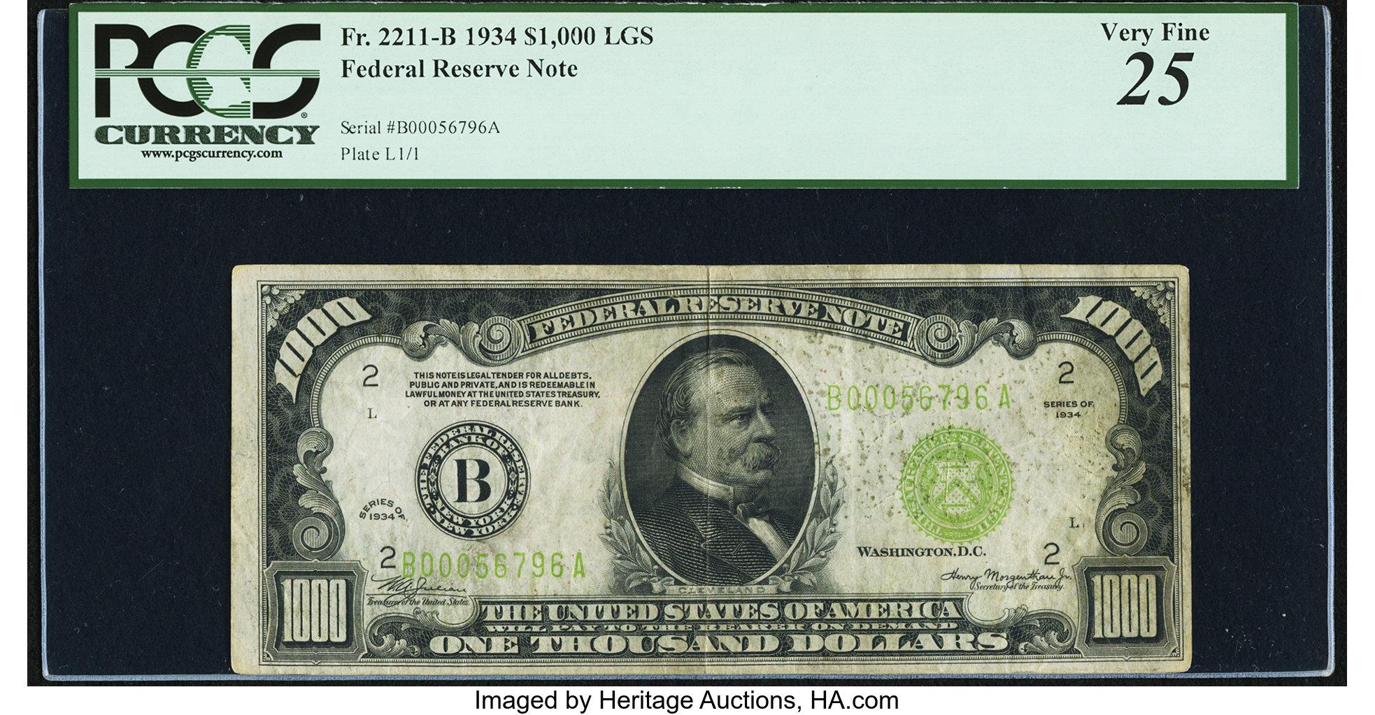 sample image for Fr.2211B $1,000 1934 New York
