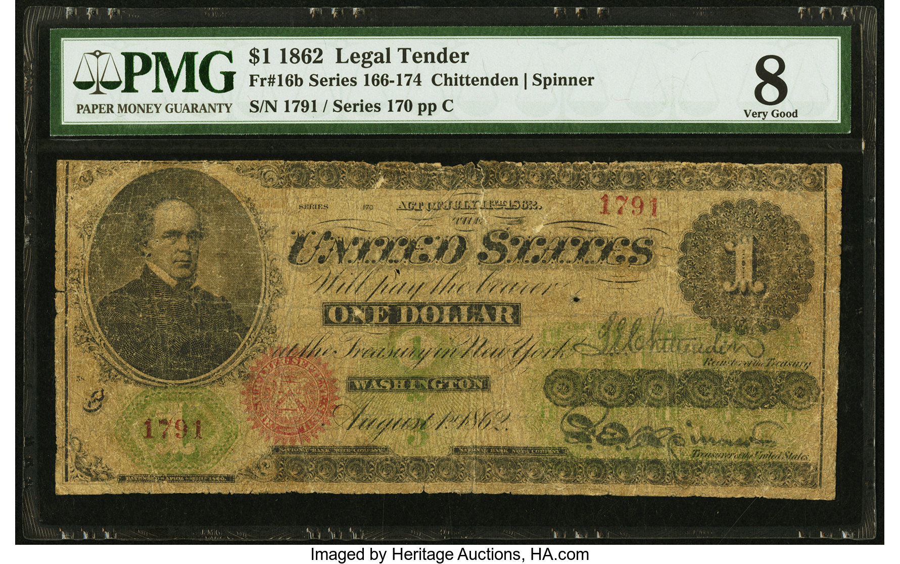 sample image for 1862 $1  With Patent Date Seal Type 2 (Fr.# 16b)