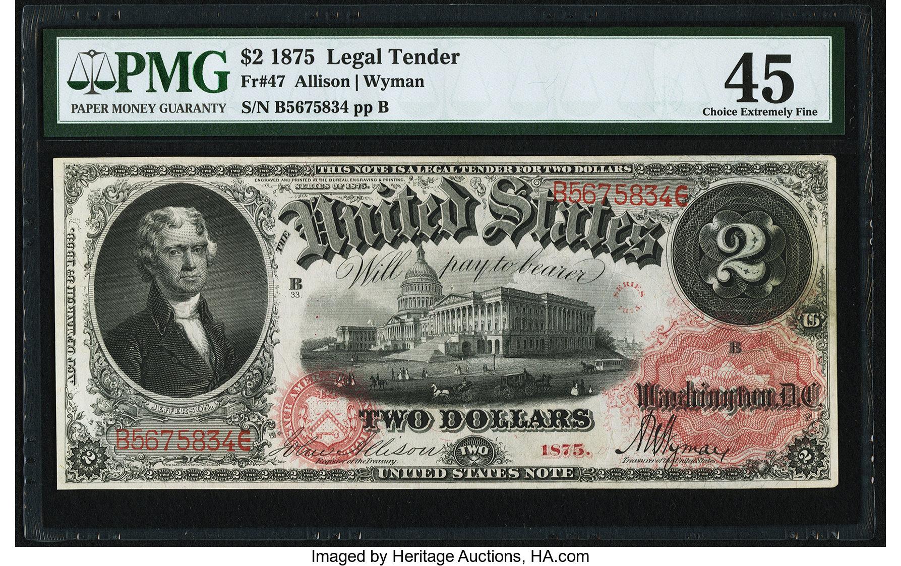sample image for 1875 $2  (Fr.# 47)