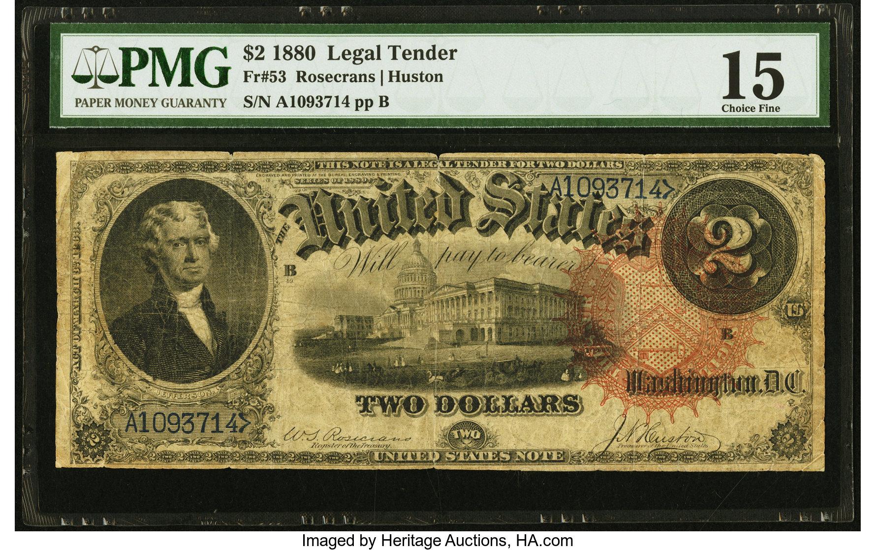 sample image for 1880 $2  (Fr.# 53)